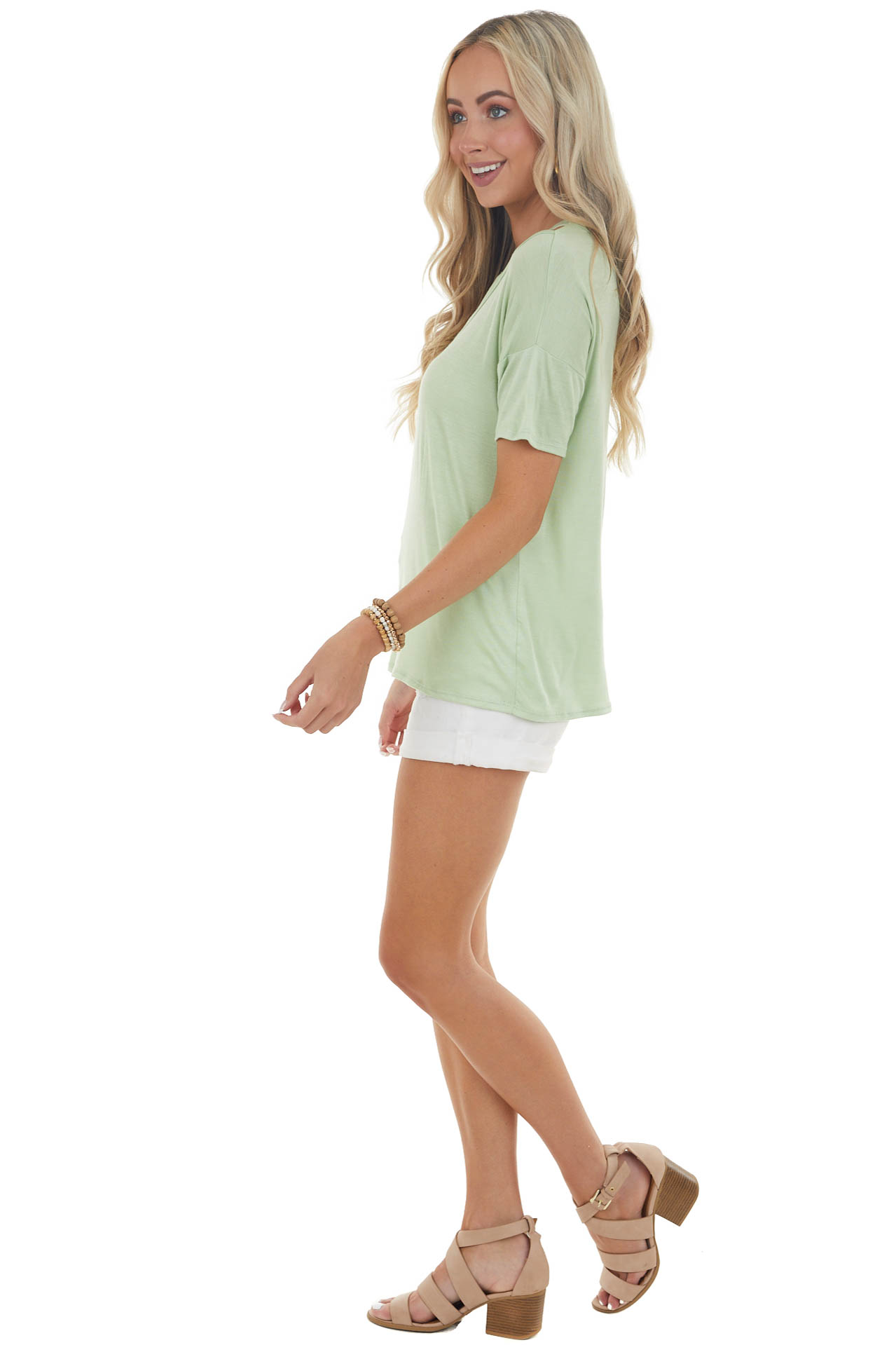 Sage Short Sleeve Knit Top with Caged Neckline