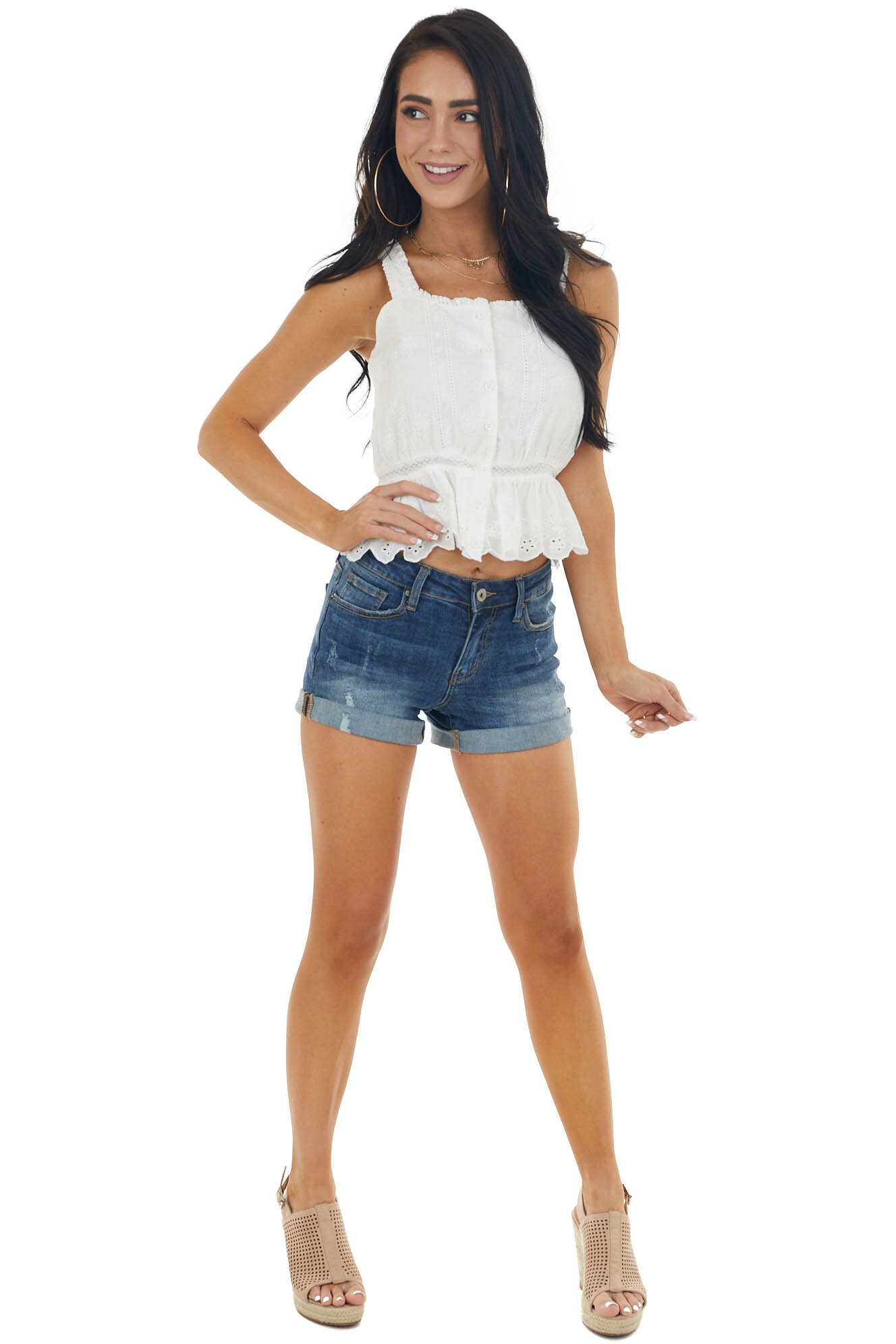 Pearl Sleeveless Button Up Lace Tank Top