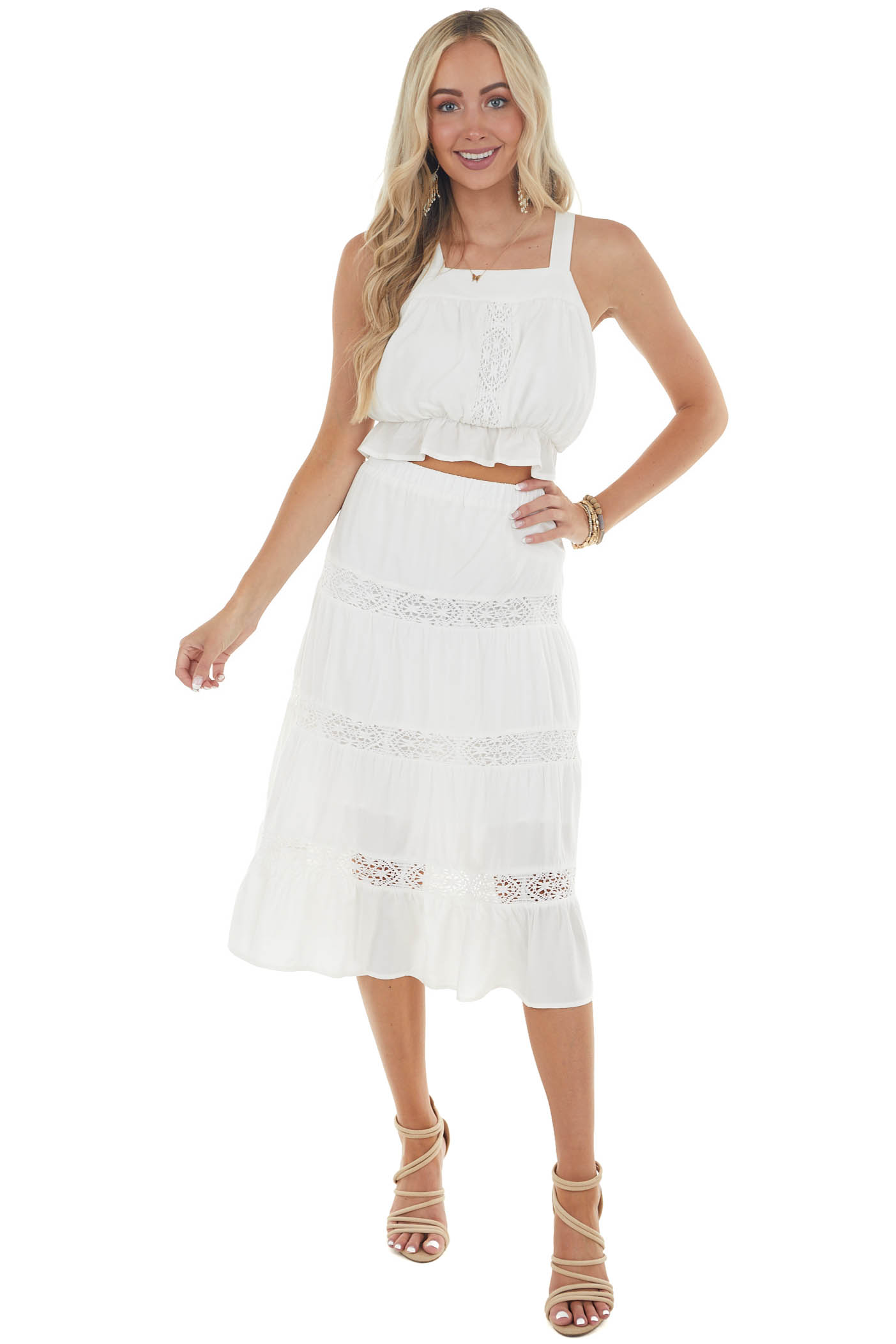 Off White Sleeveless Lace Front Cropped Top