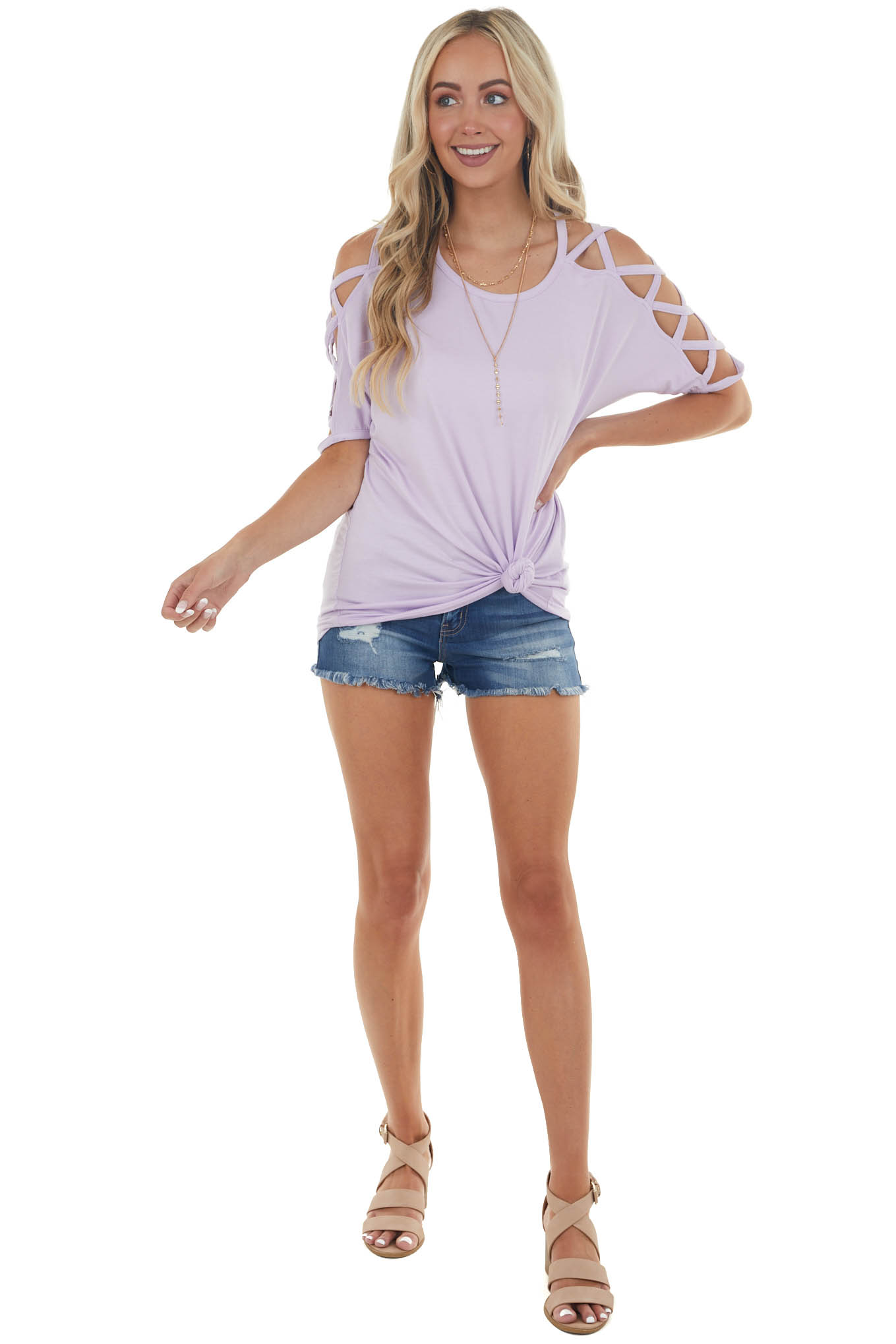 Lavender Knit Top with Criss Cross Sleeves