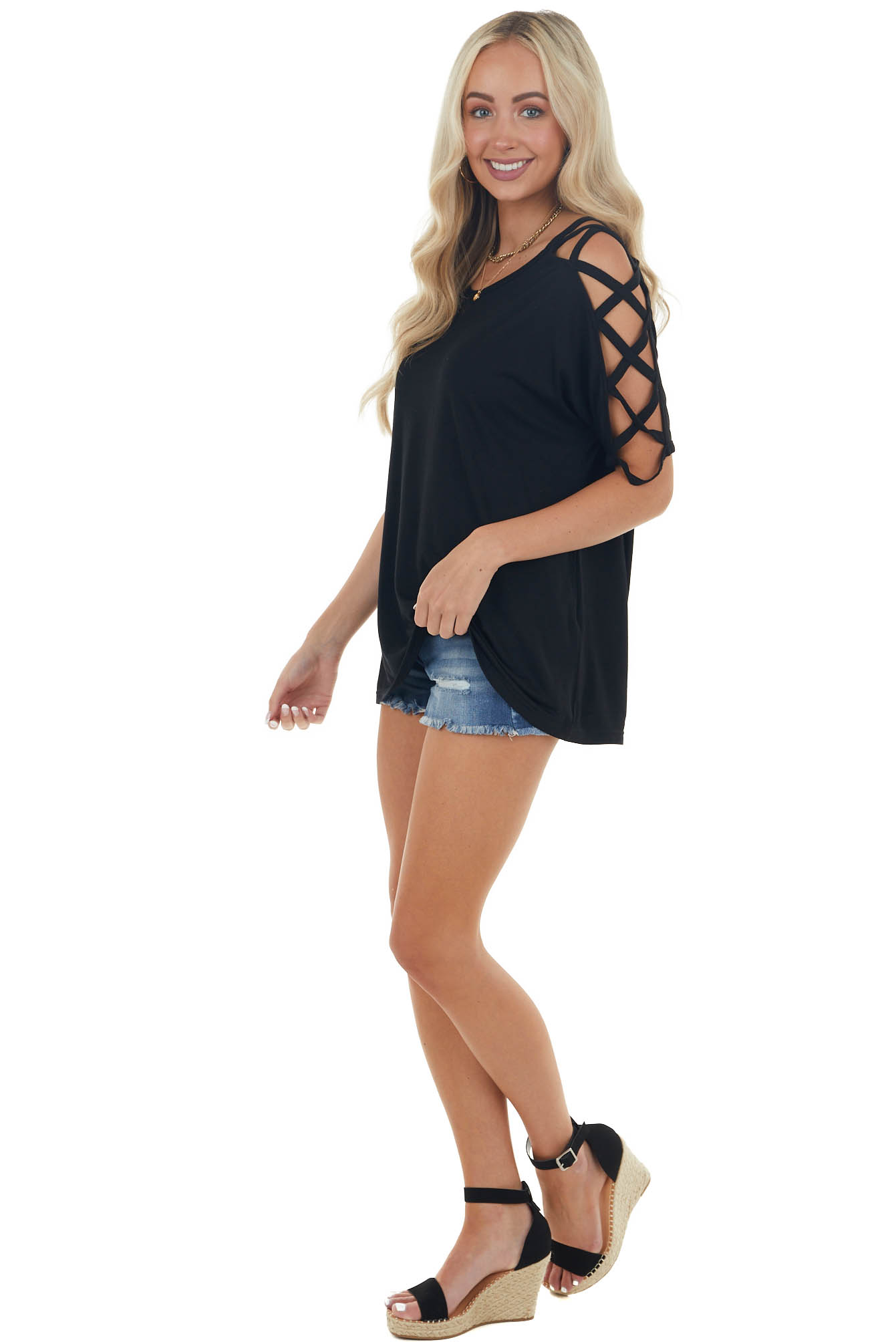 Black Knit Top with Criss Cross Sleeves