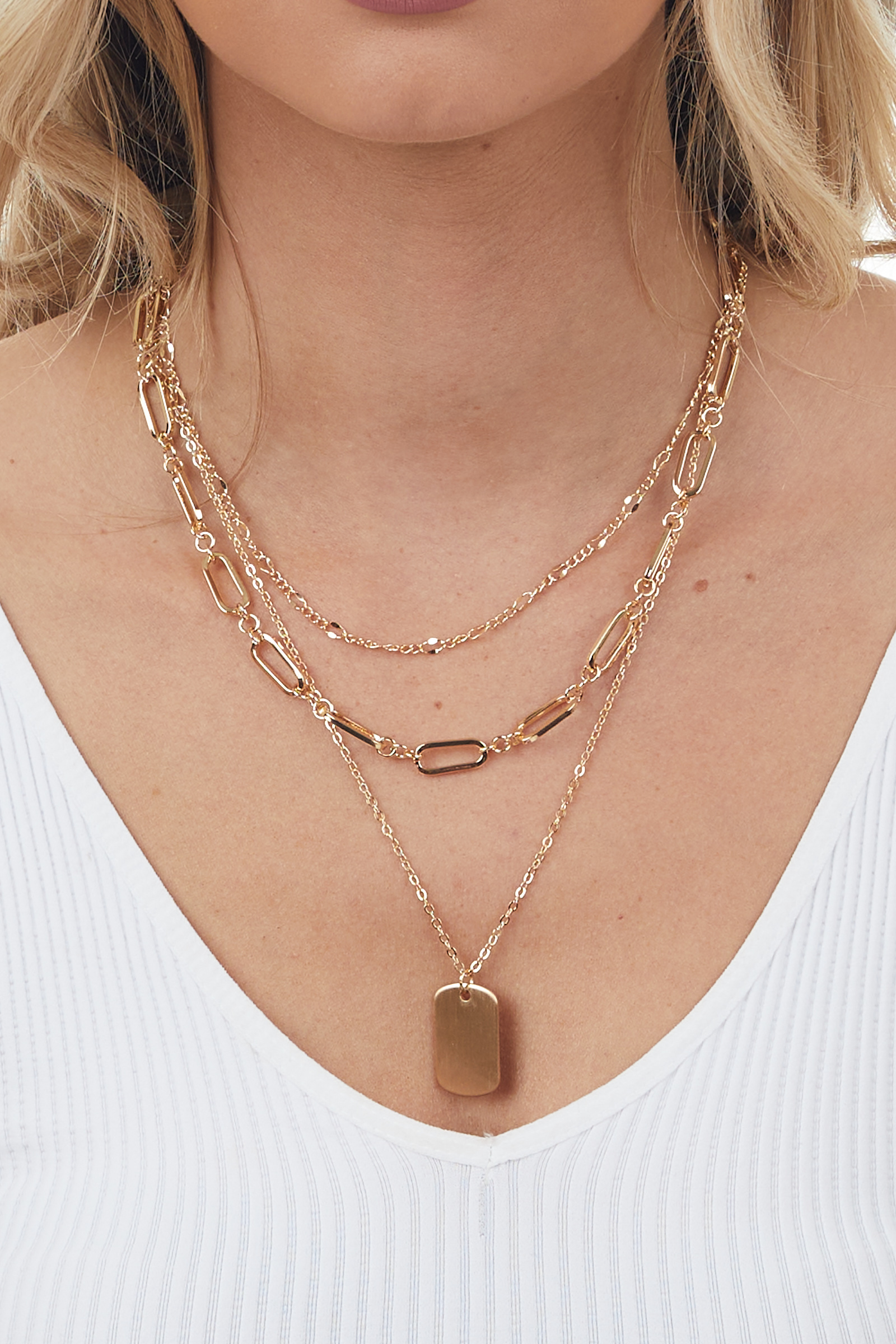 Gold Dog Tag Charm Layered Chain Necklace