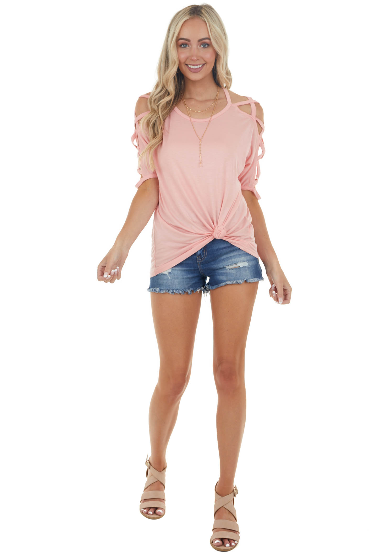 Blush Knit Top with Criss Cross Sleeves