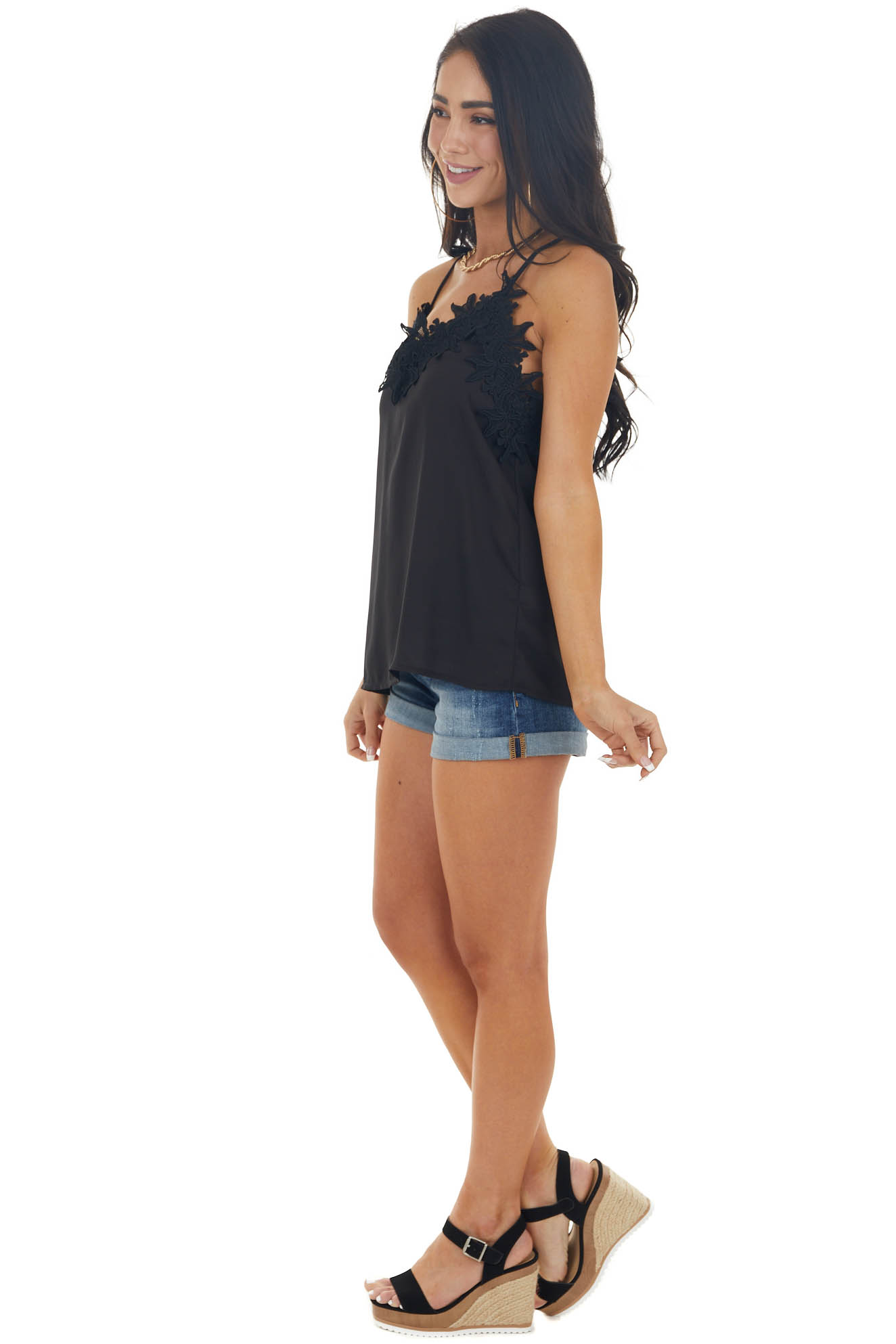 Black Lace Cami Woven Tank Top with Adjustable Straps