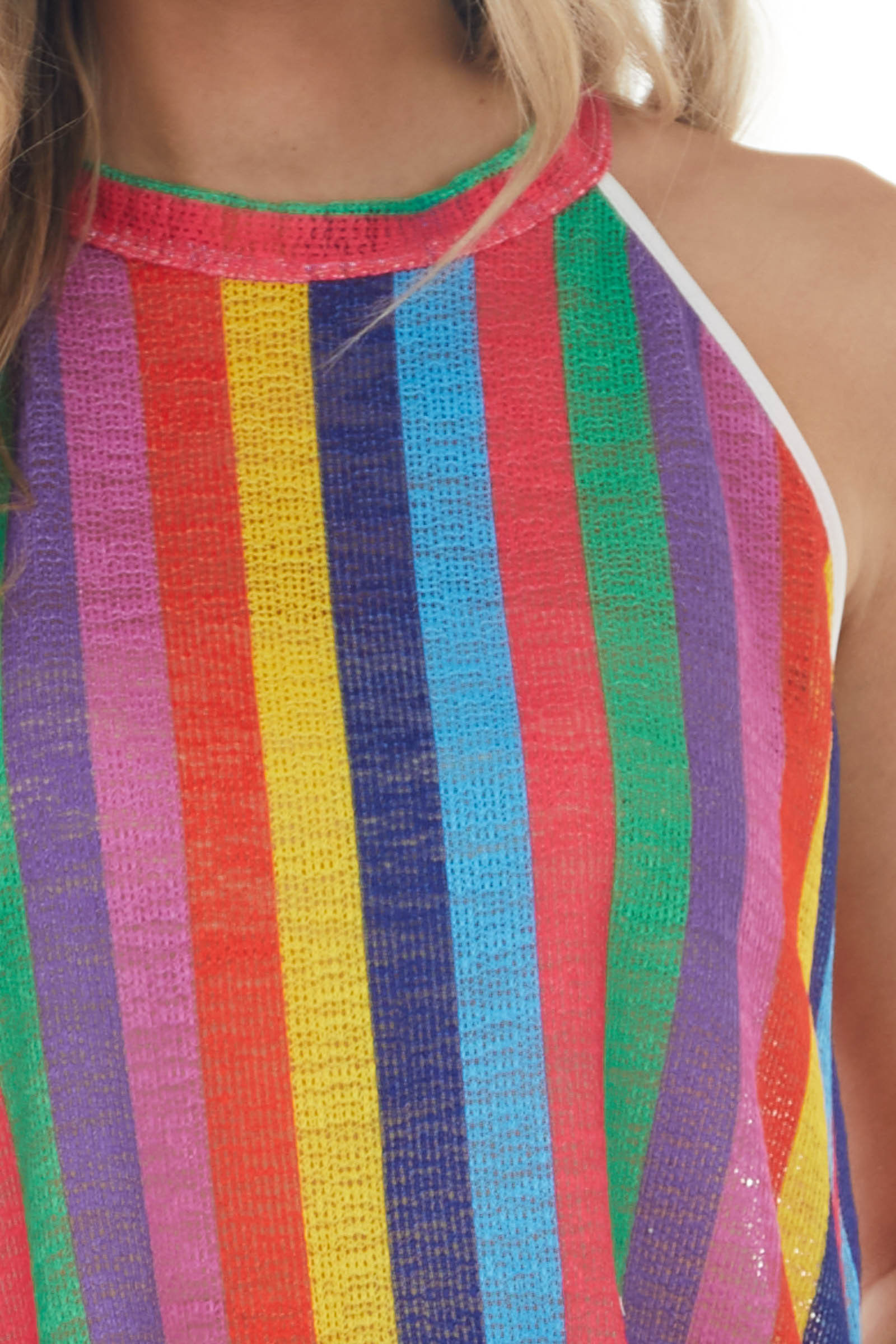 Multicolor Striped Sleeveless Loose Knit Top