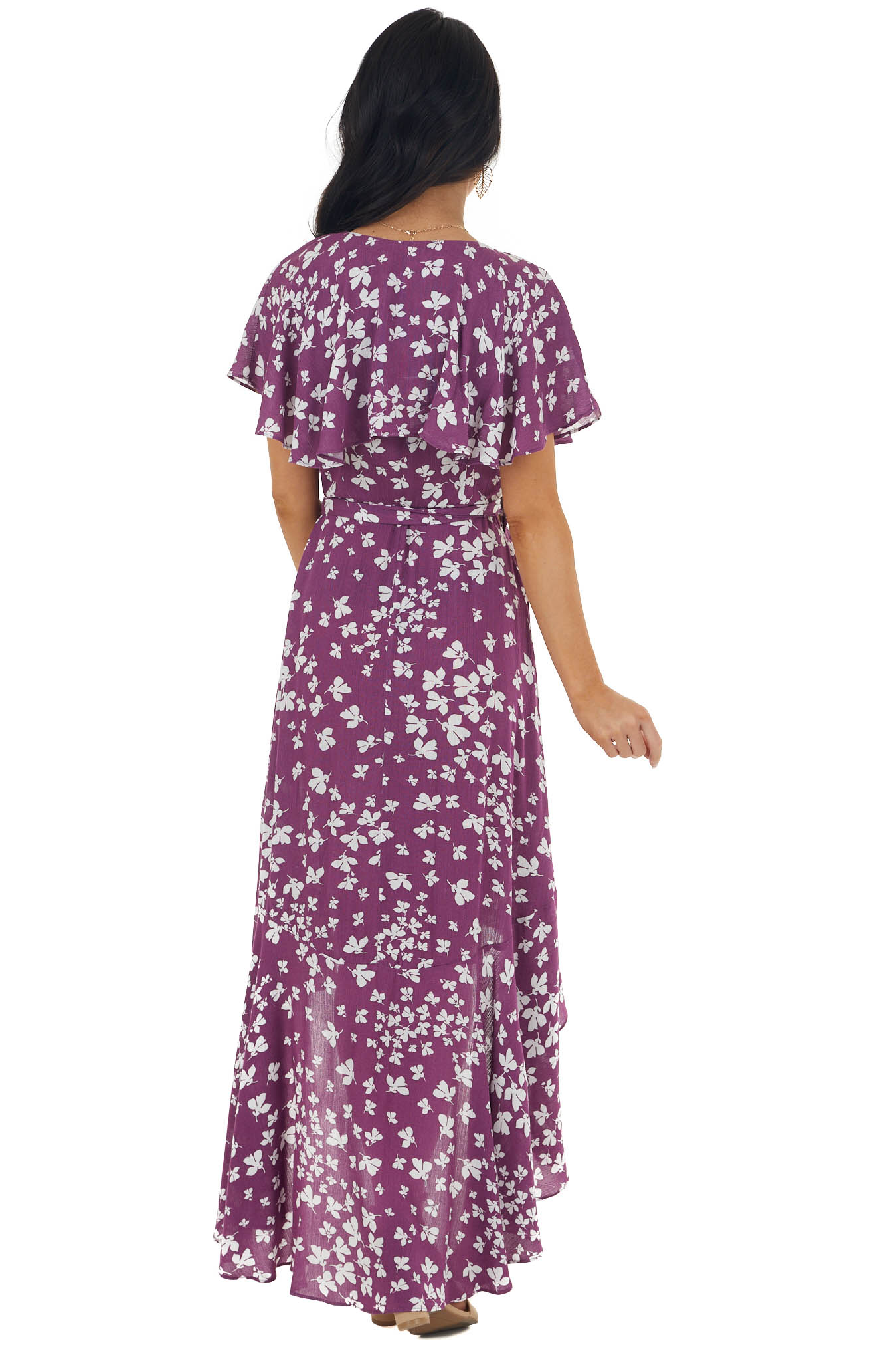 Berry and Ivory Floral Print Maxi Dress