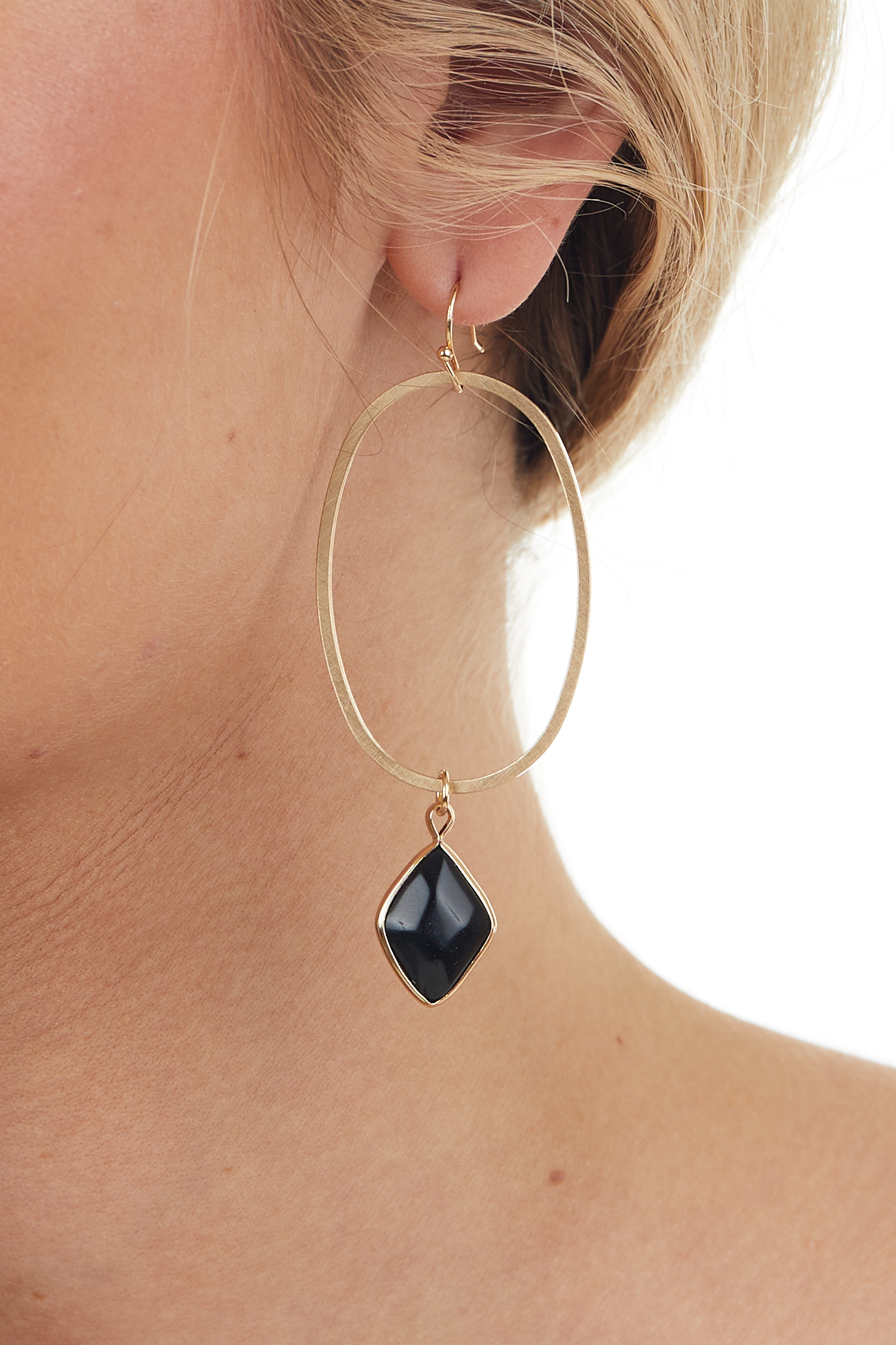 Brushed Gold Oval Earrings with Stone Pendant