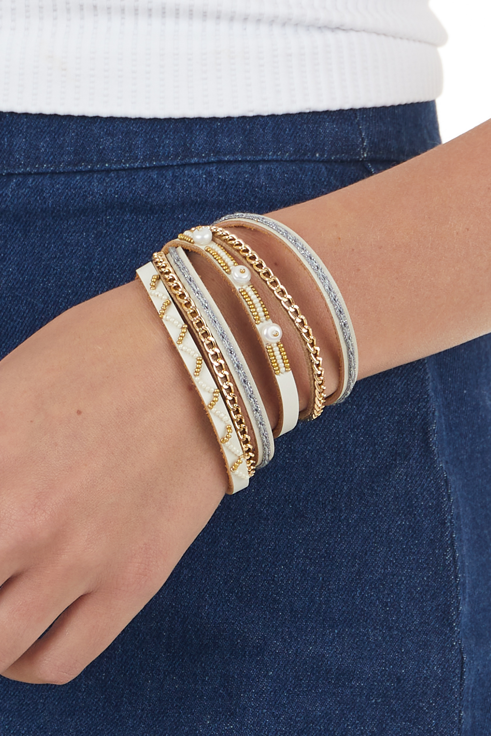 Ivory and Gold Layered Multipattern Bracelet