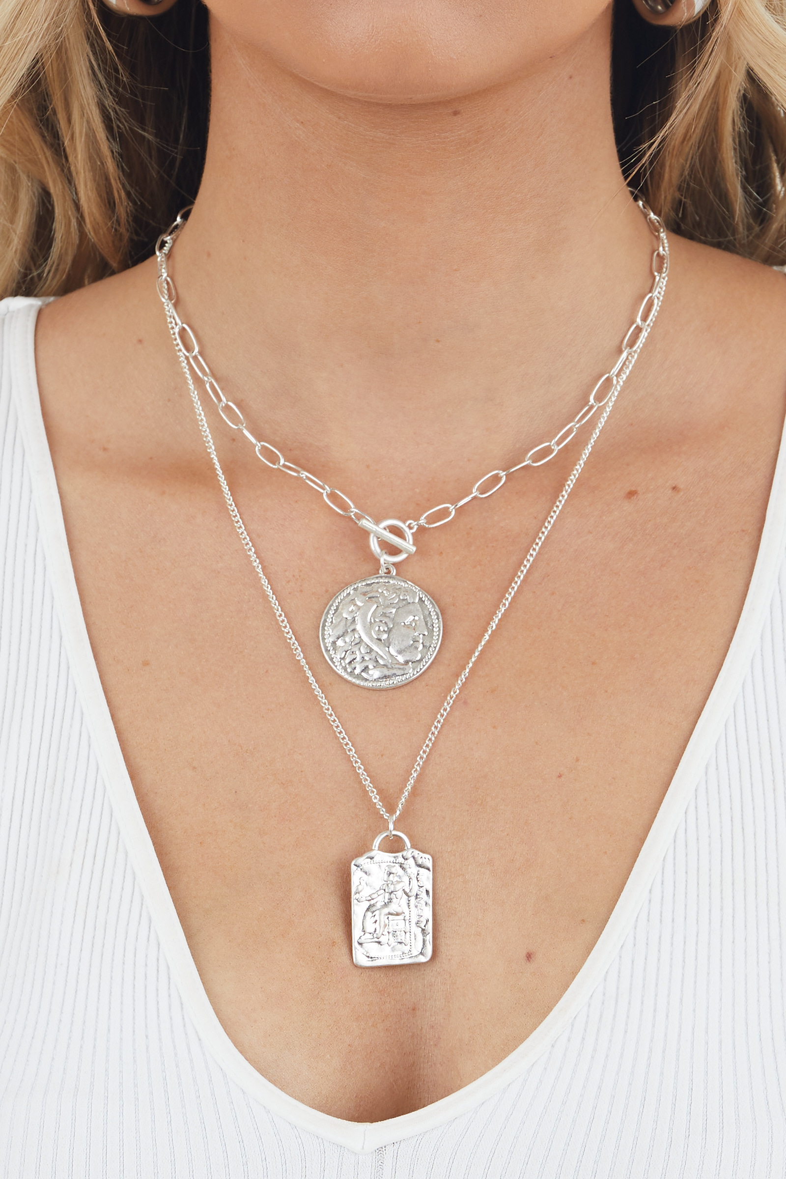 Silver Antique Coin Pendant Layered Necklace