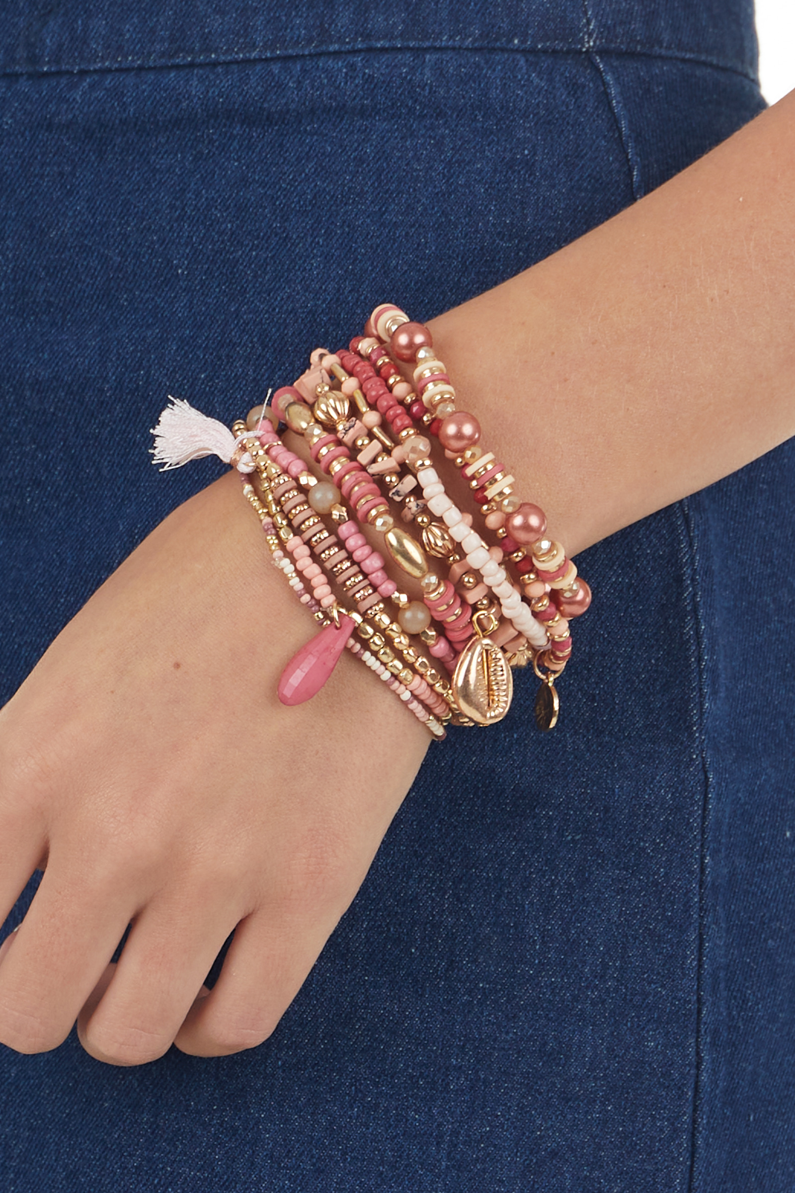 Mulberry and Gold Beaded 10 Piece Bracelet Set
