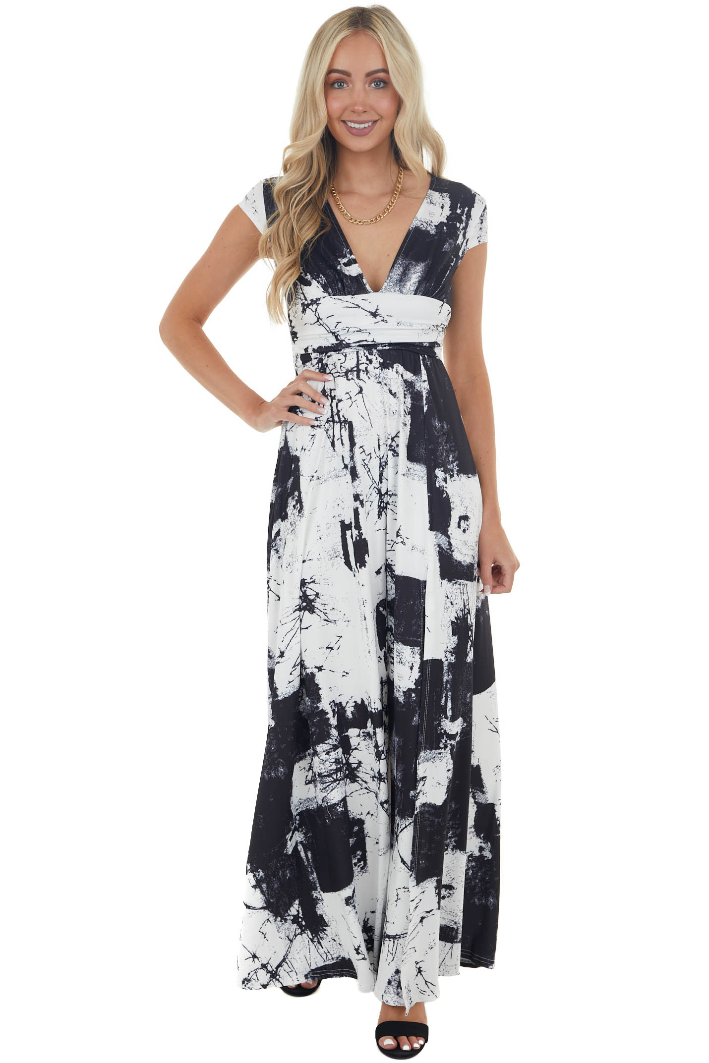 Off White Abstract Plunging V Neck Maxi Dress