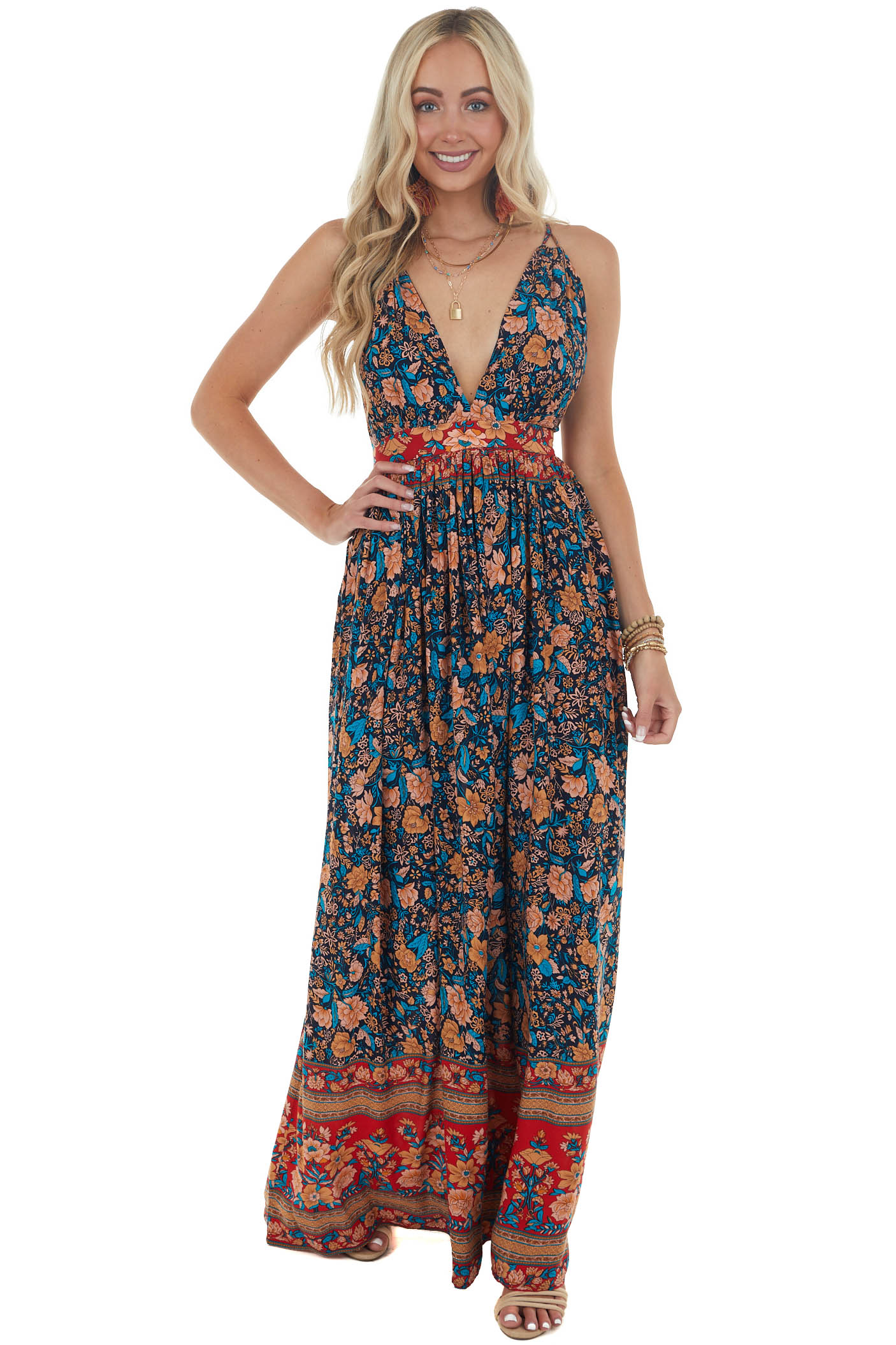 Navy and Red Floral Print Backless Maxi Dress