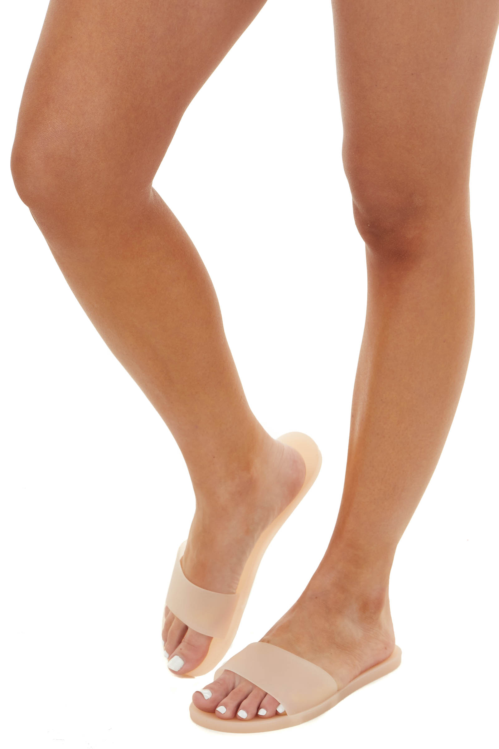 Peach Jelly One Strap Slide On Sandals