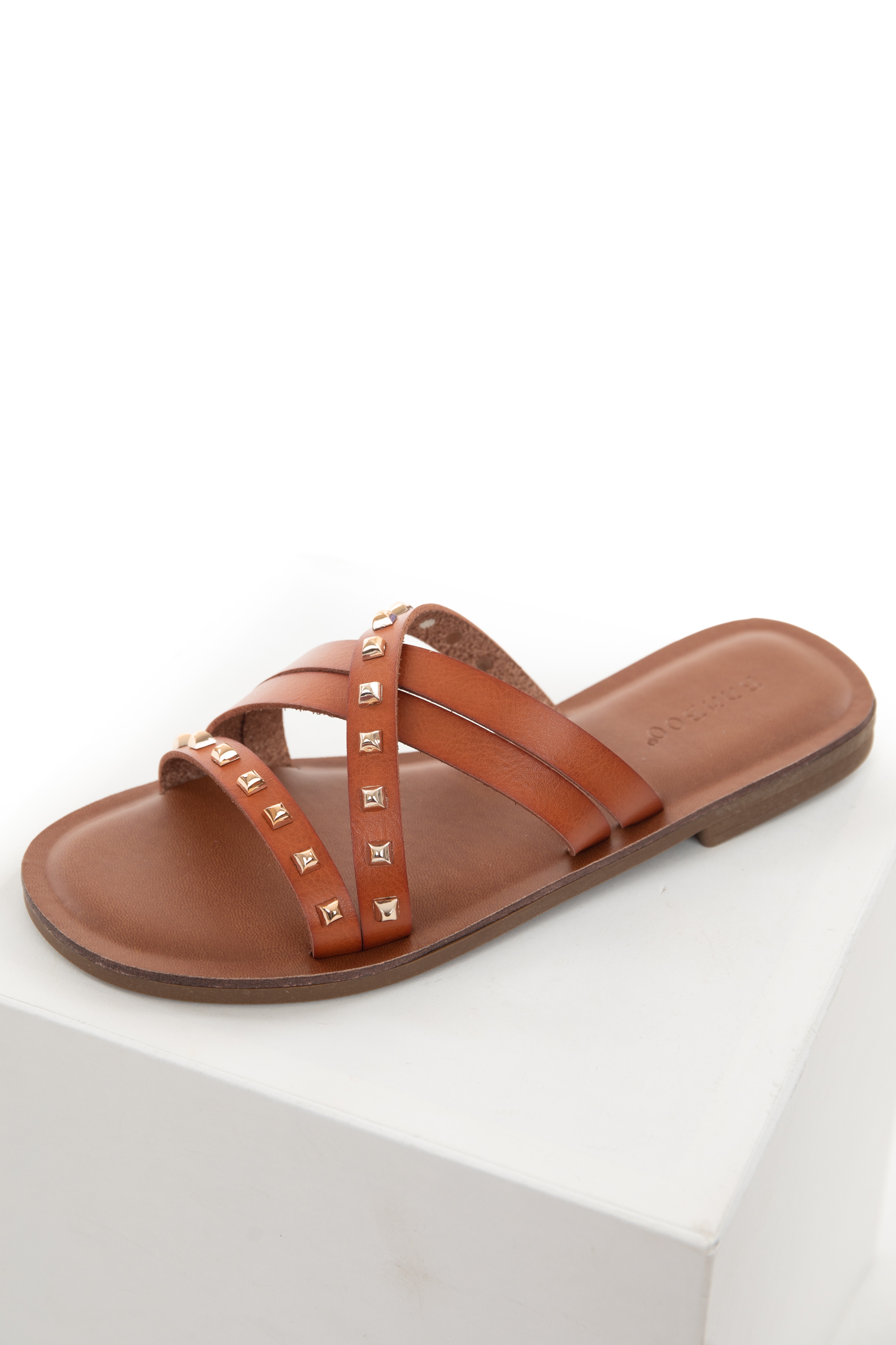 Spice Strappy Gold Square Studs Flat Sandal