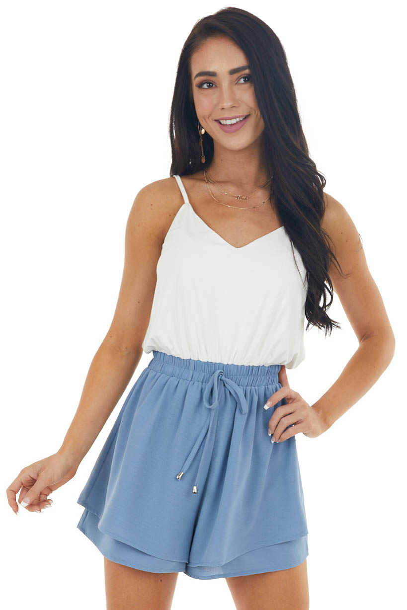 Off White and Blue Romper with Smocked Waist