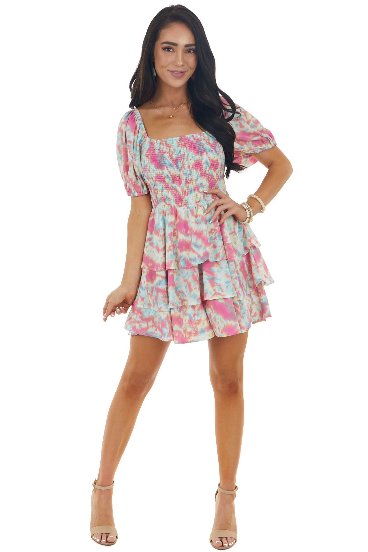 Punch Pink Abstract Print Tiered Woven Romper