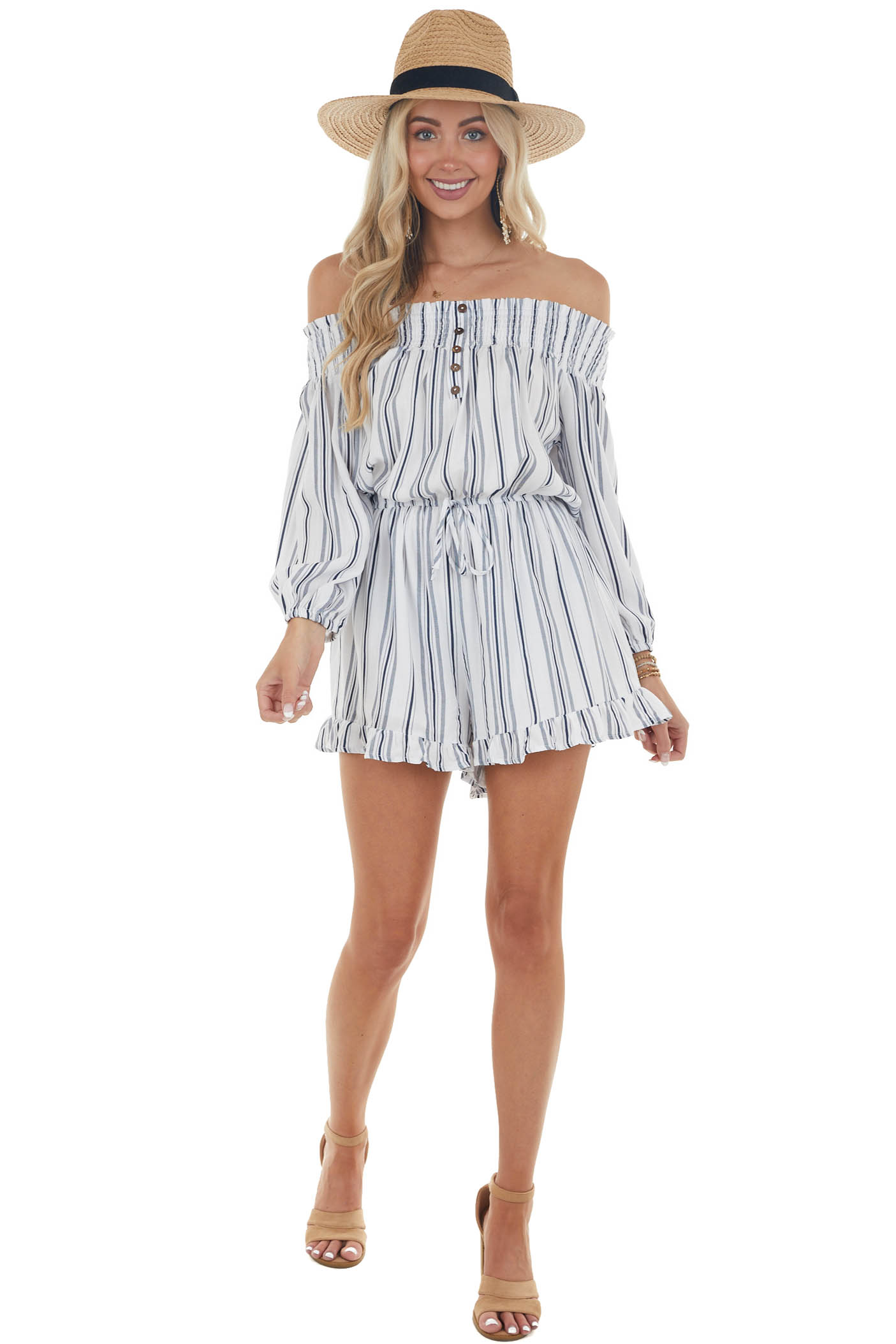 Off White and Navy Striped Romper with Buttons
