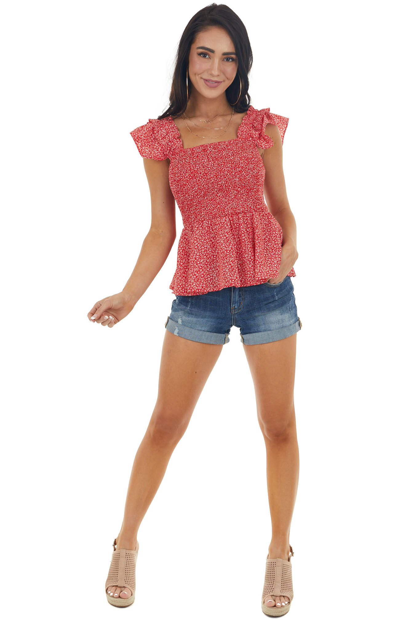 Lipstick Red Ditsy Floral Smocked Peplum Top