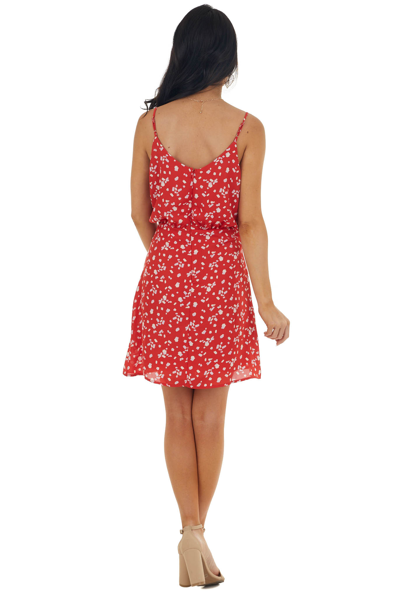 Red and Off White Spotted Surplice Mini Dress