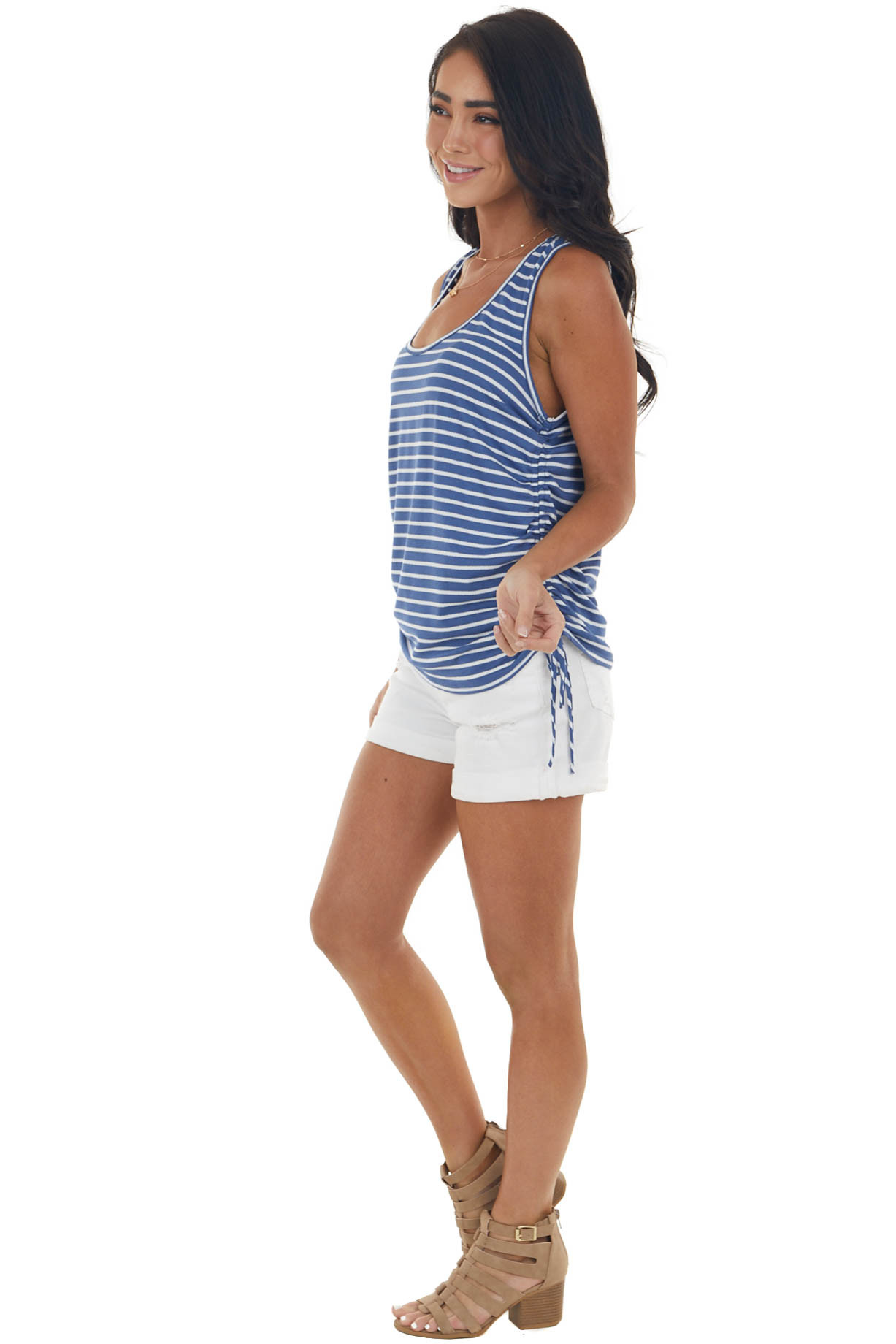 Catalina Blue Striped Sleeveless Top with Ruched Side Detail