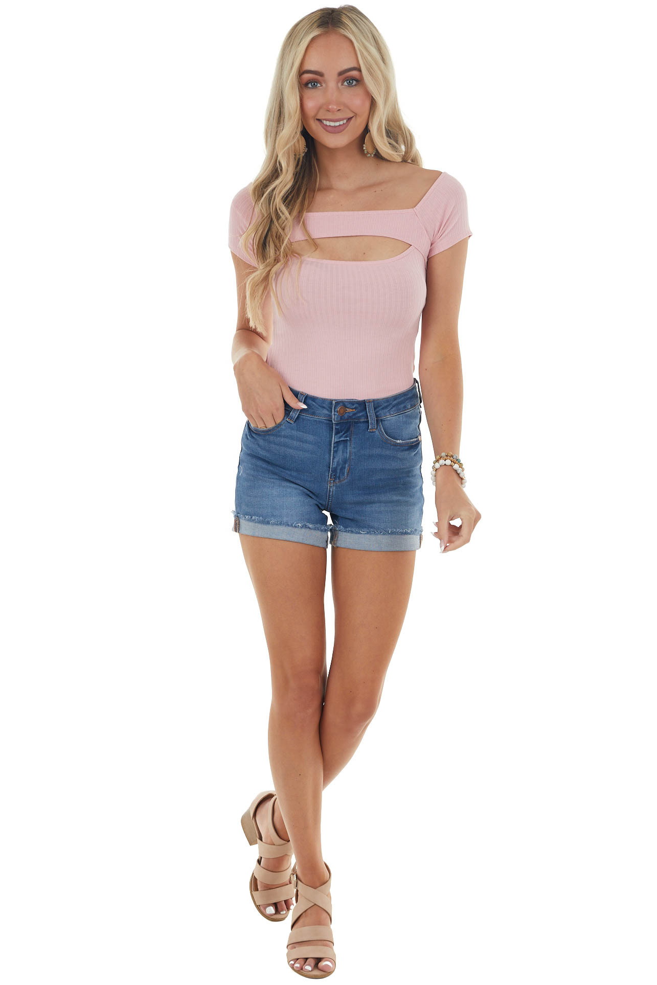 Blush Square Neck Bodysuit with Cut Out Front