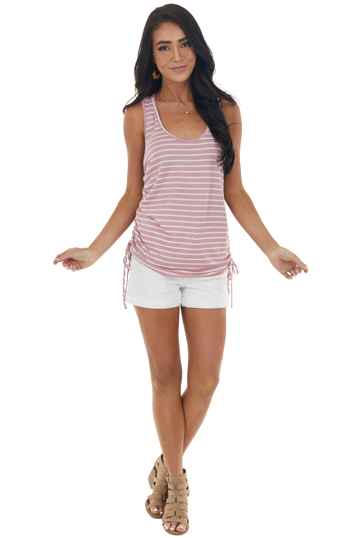 Dusty Blush Striped Sleeveless Top with Ruched Side Detail