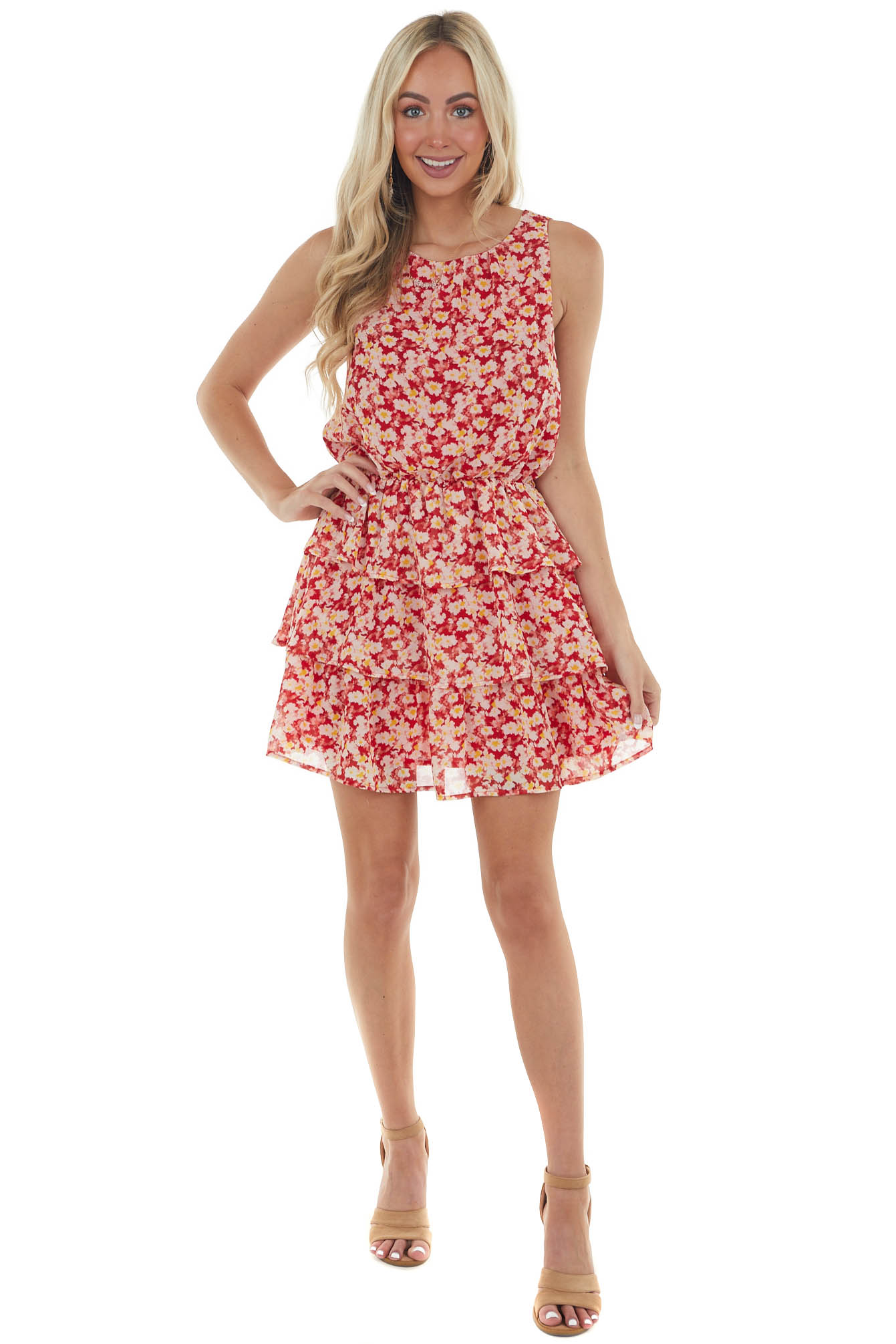 Ruby Red Ditsy Floral Blouson Woven Dress