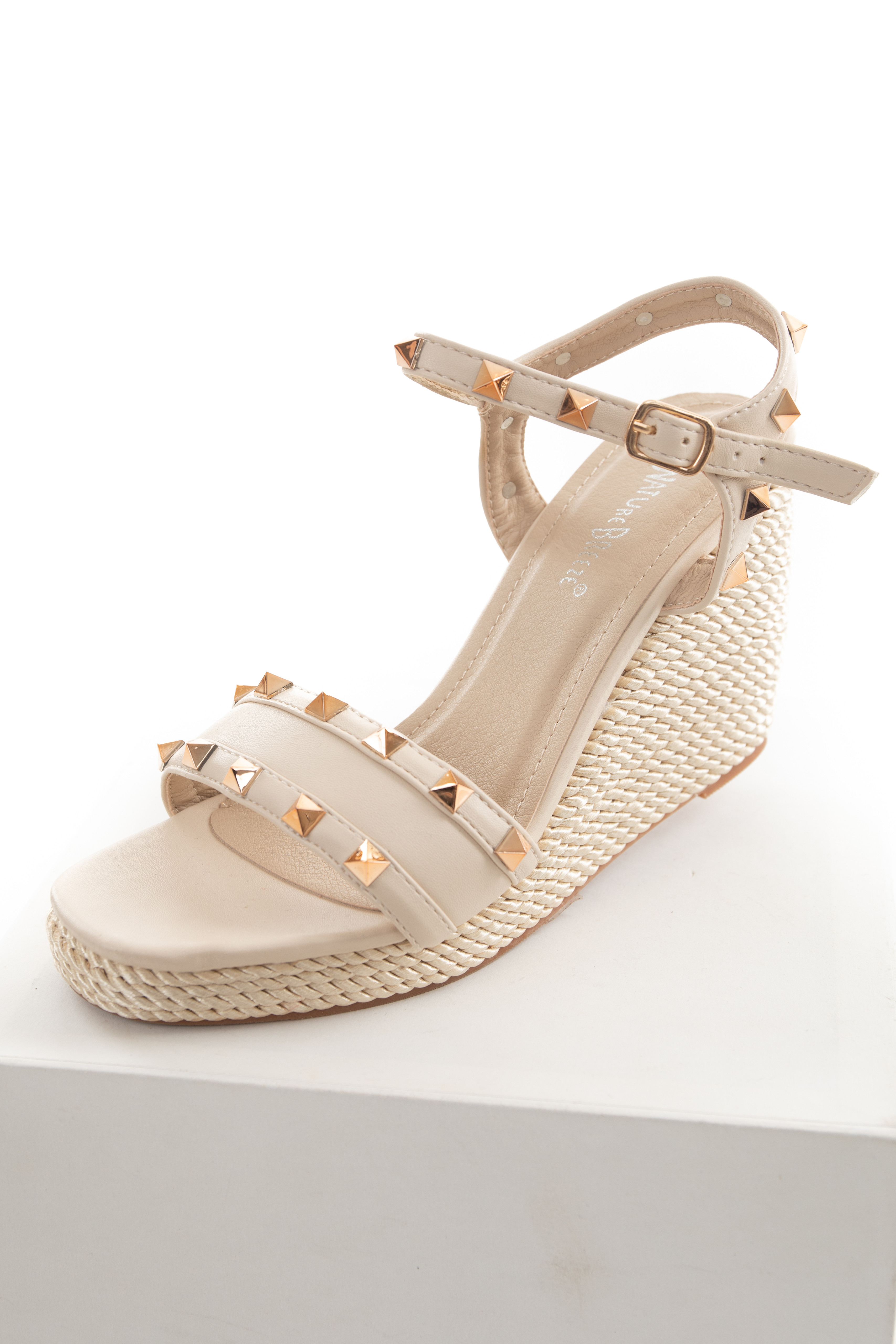 Latte and Champagne Espadrille Studded Wedges