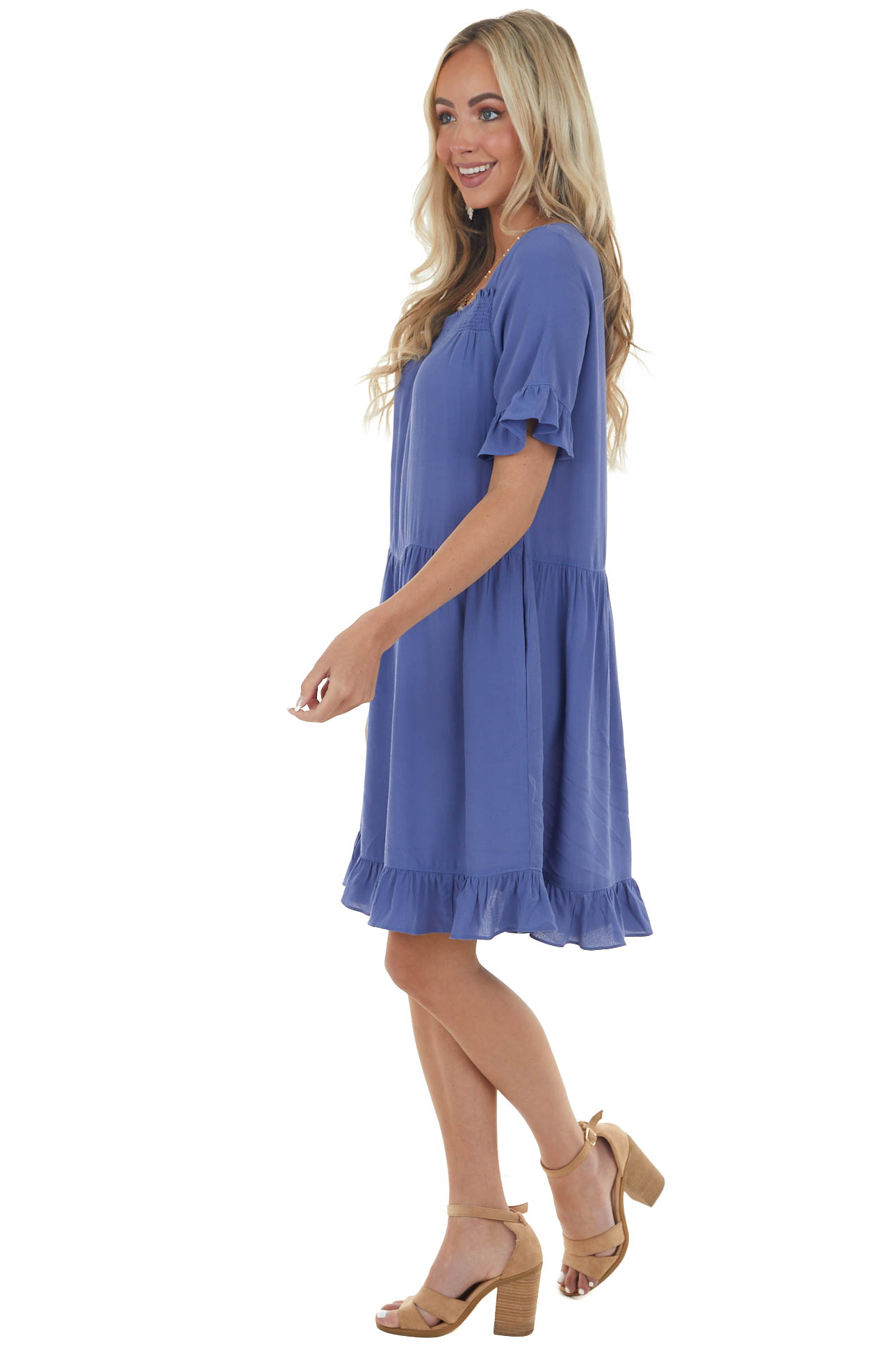 Deep Dusty Blue Square Neck Tiered Short Dress