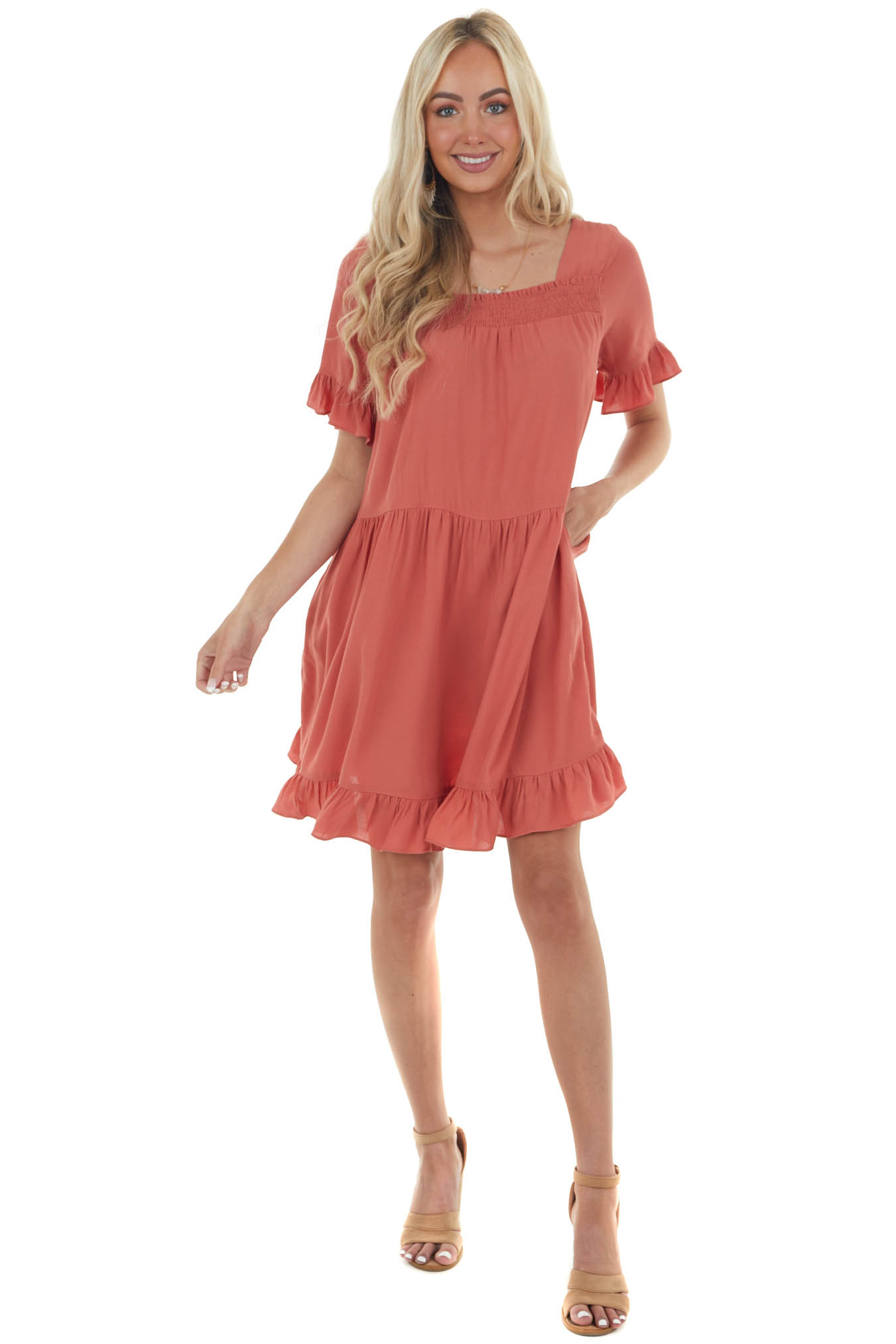 Terracotta Square Neck Tiered Short Dress