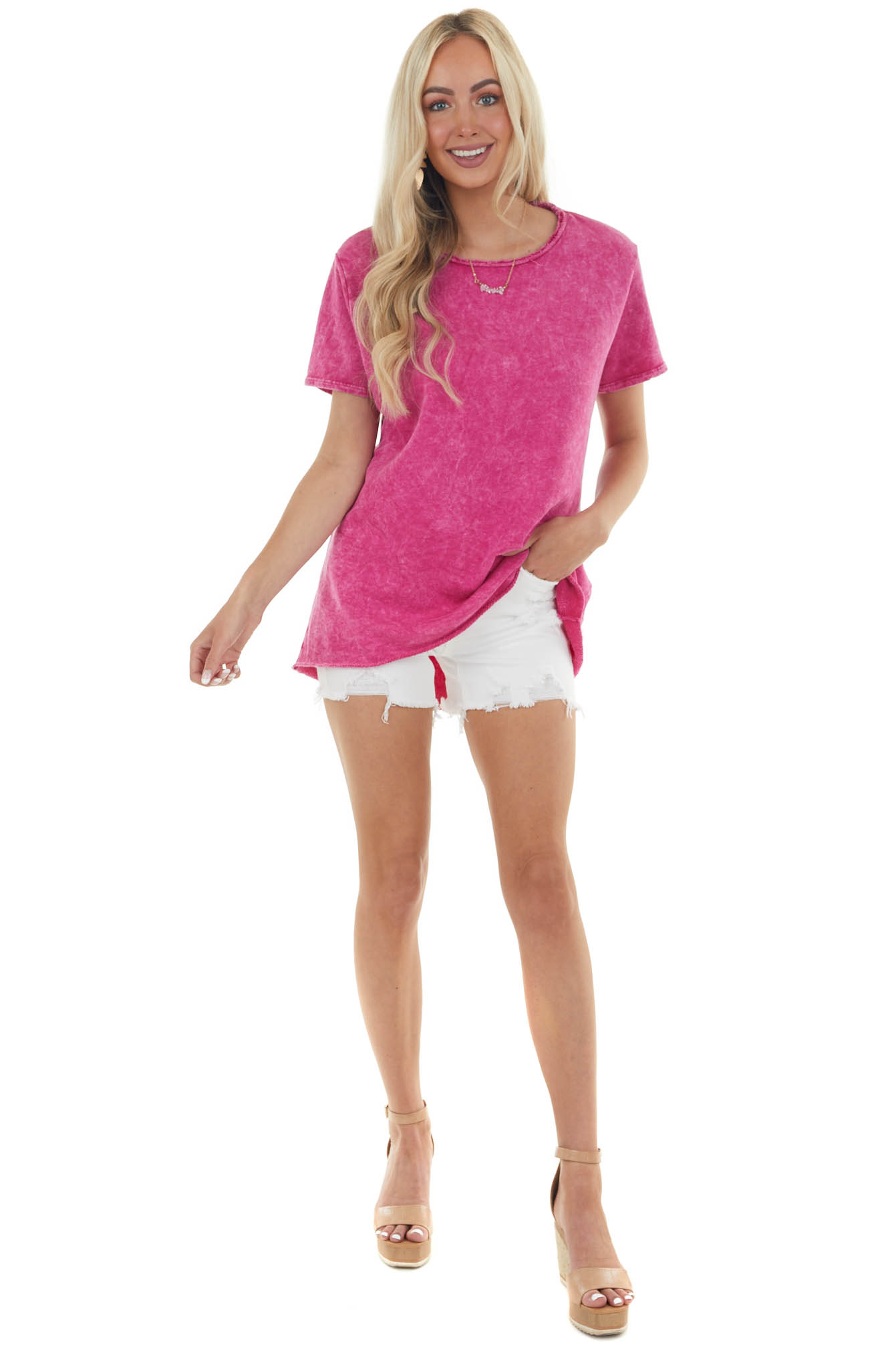 Mulberry Mineral Wash Top with Cut Outs