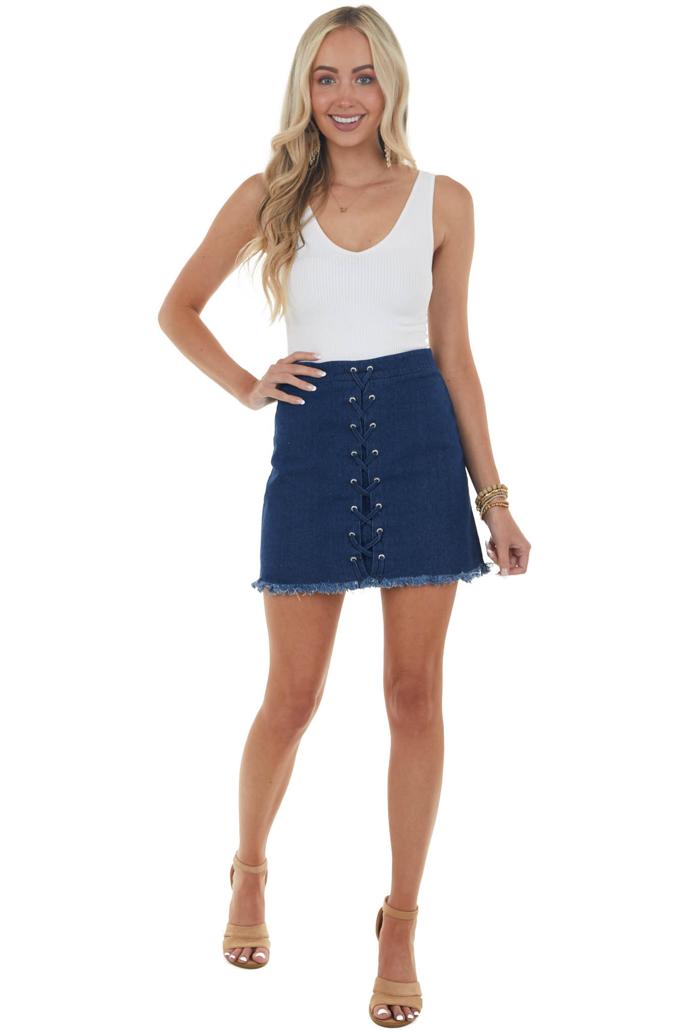 Dark Wash Denim Mini Skirt with Lace Up Front