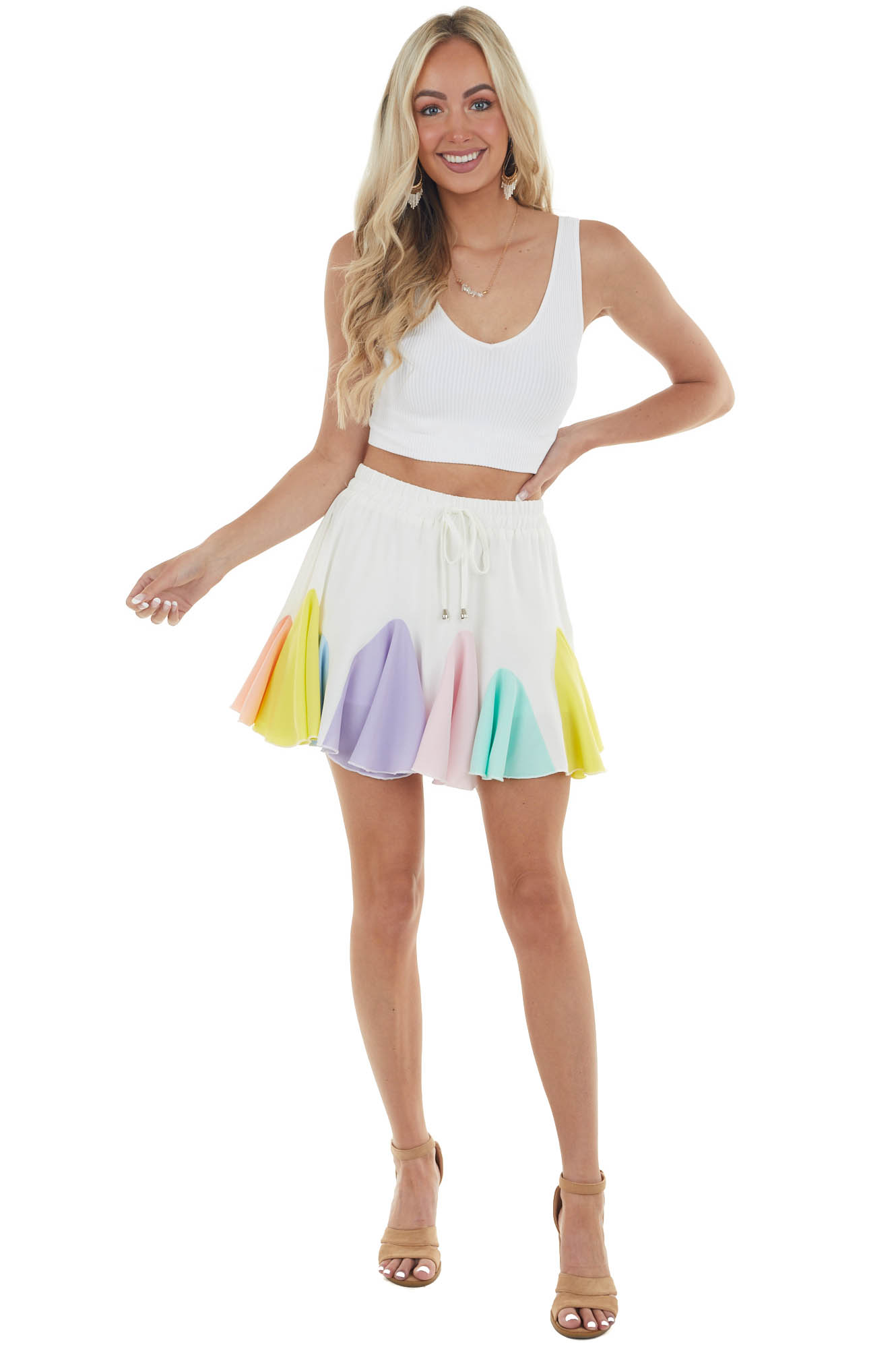 Ivory Mini Skort with Multicolor Ruffle Detail
