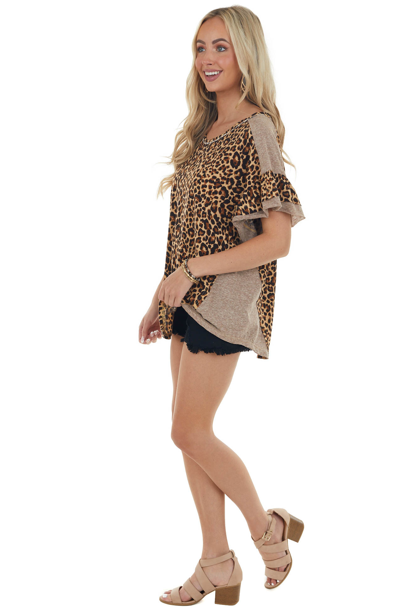 Camel Brown Leopard Short Layered Sleeve Top