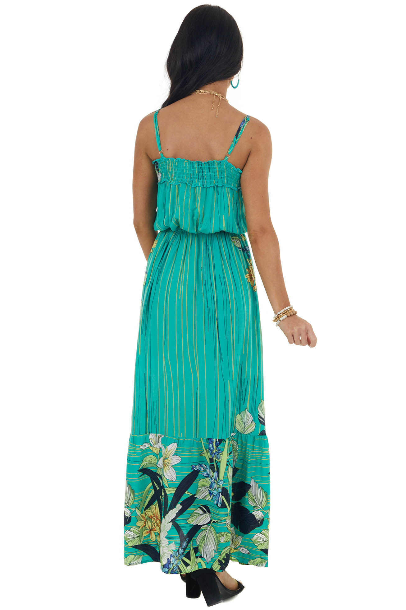 Jungle Green Multiprint Maxi Dress with Straps