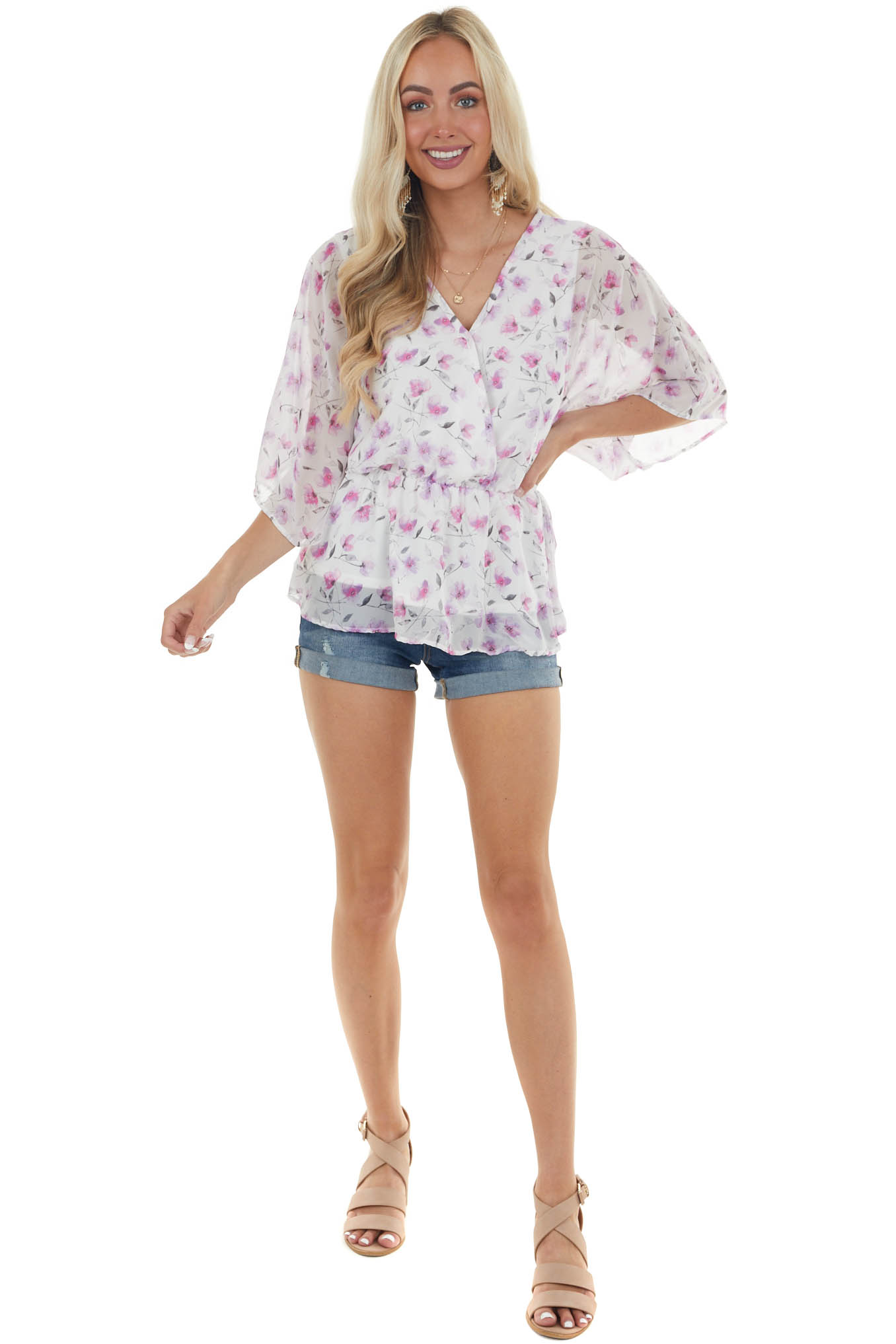 Iris and Off White Floral Surplice Blouse