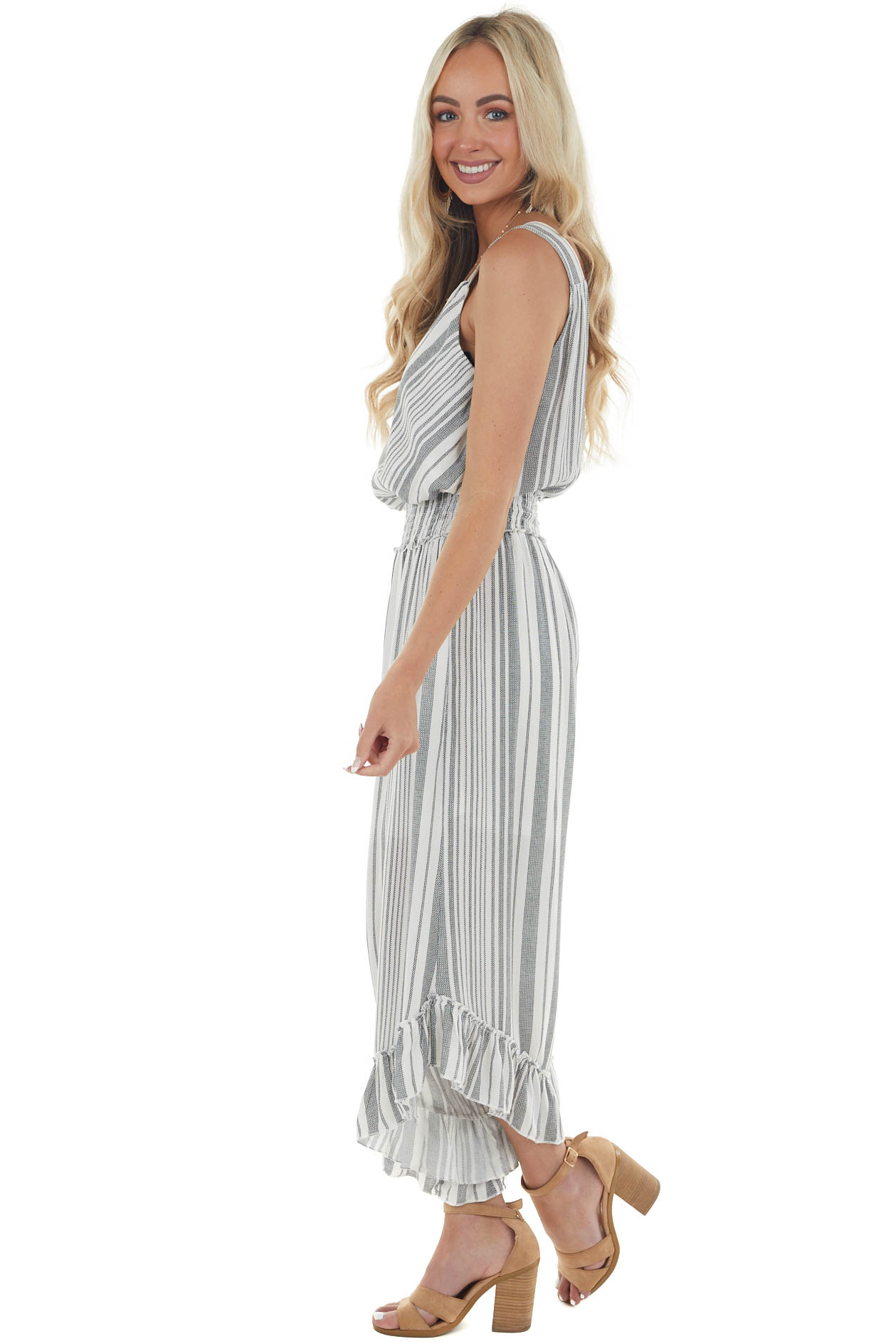 Ivory and Black Striped Print Jumpsuit