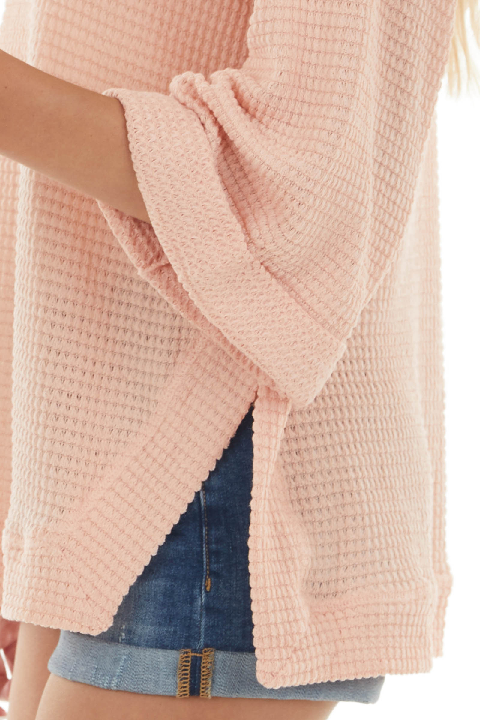 Light Coral Waffle Knit Folded Cuff Loose Top