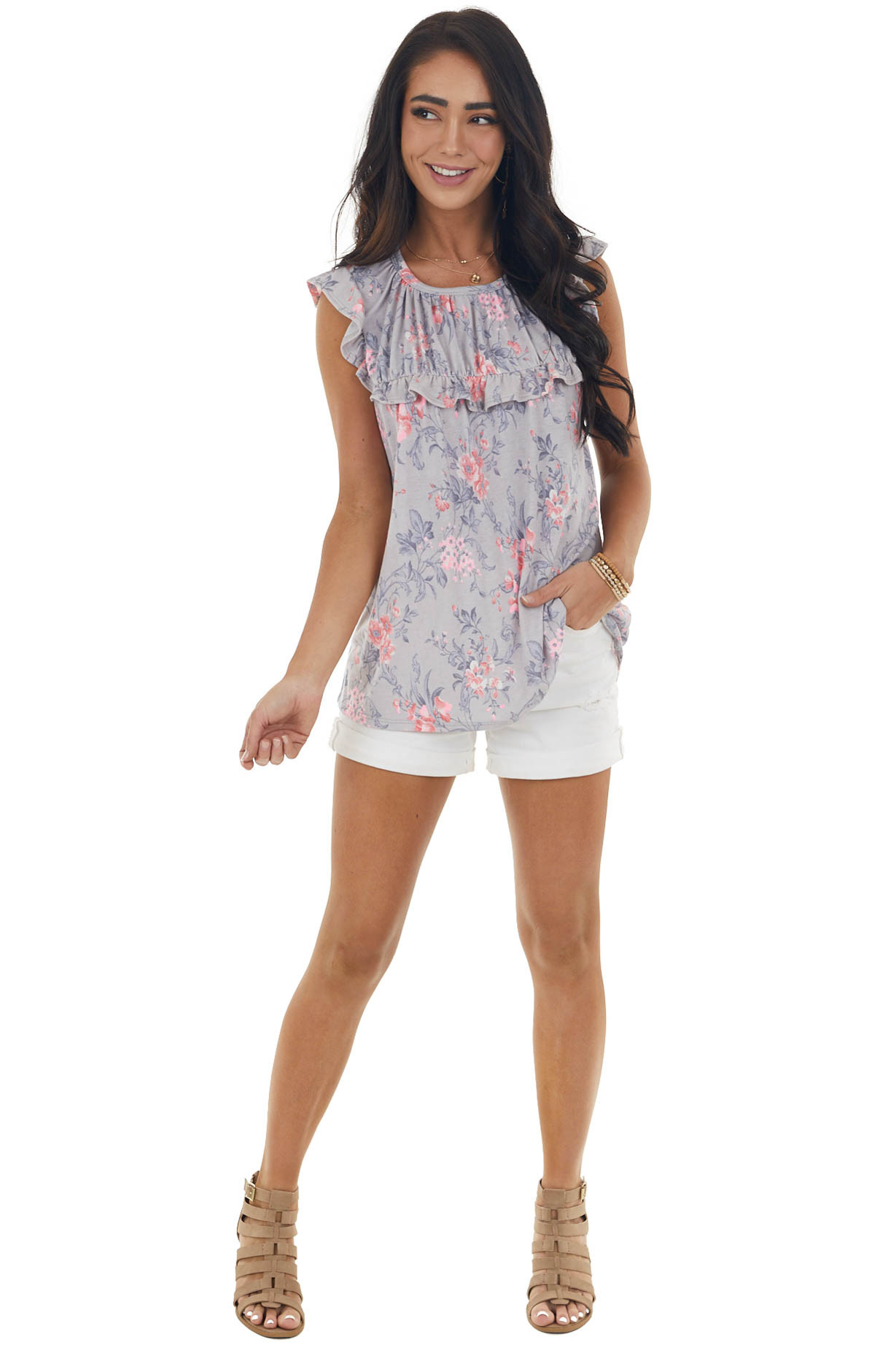 Steel Floral Babydoll Top with Ruffle Details