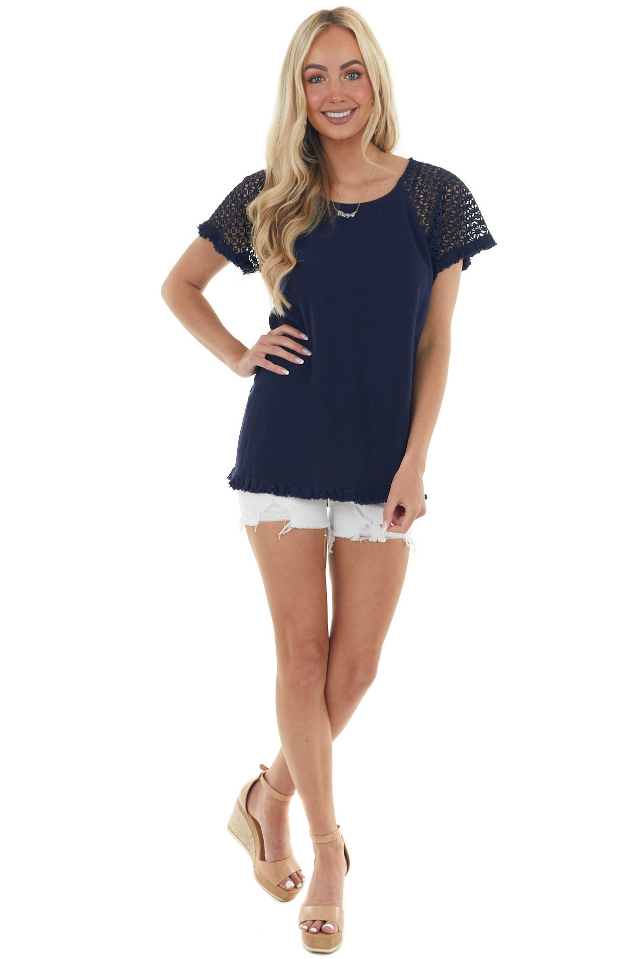 Navy Textured Short Sleeve Top with Fray Details