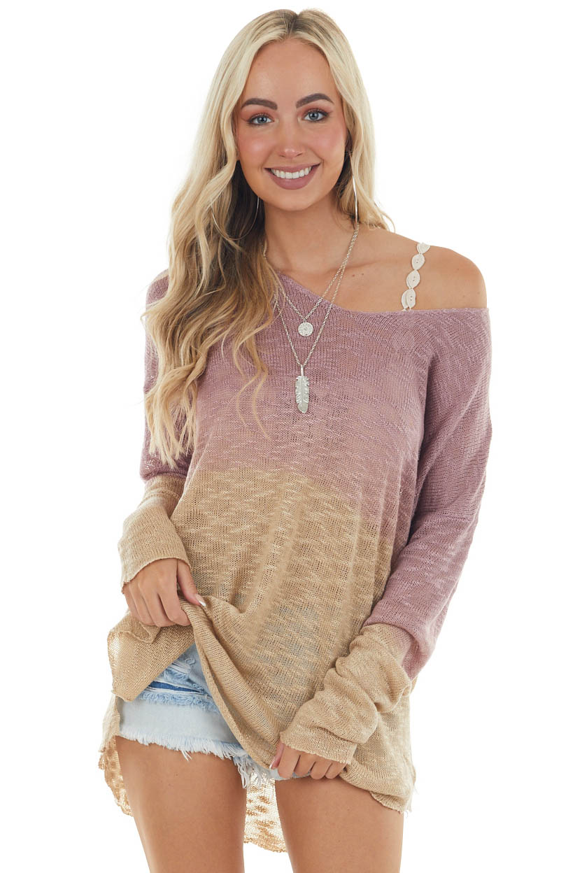 Dusty Rose and Latte Ombre Loose Knit Sweater