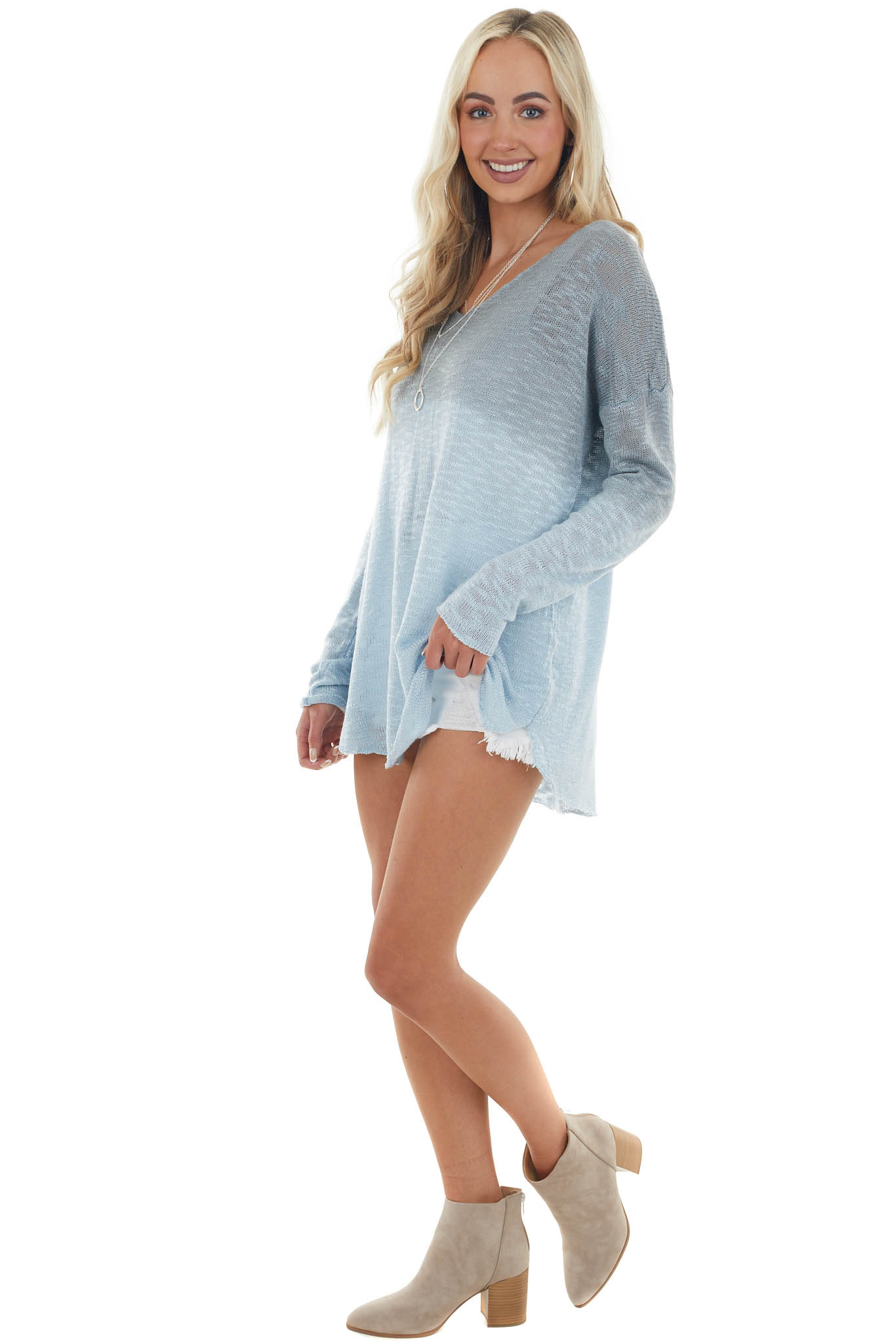 Shadow and Frost Blue Ombre Loose Knit Sweater