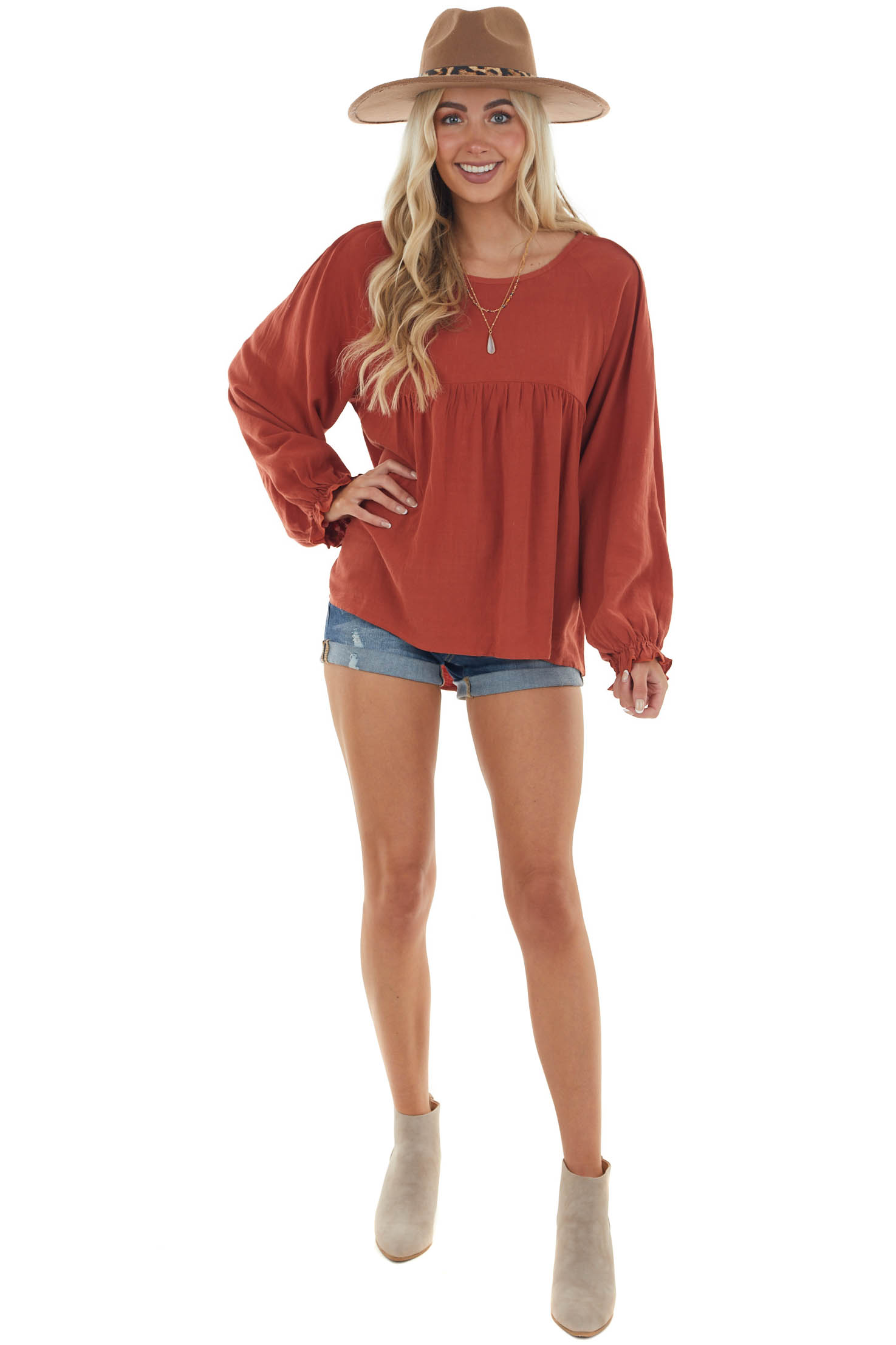 Terracotta Long Sleeve Babydoll Top with Shoulder Detail