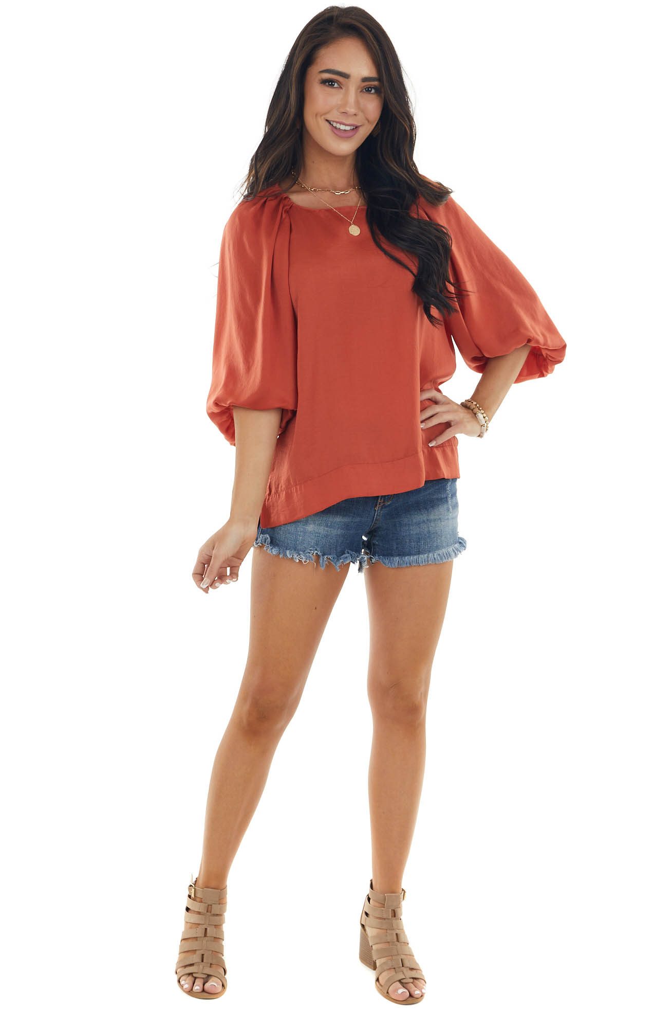 Sunset Puff Sleeve Blouse with Side Slits