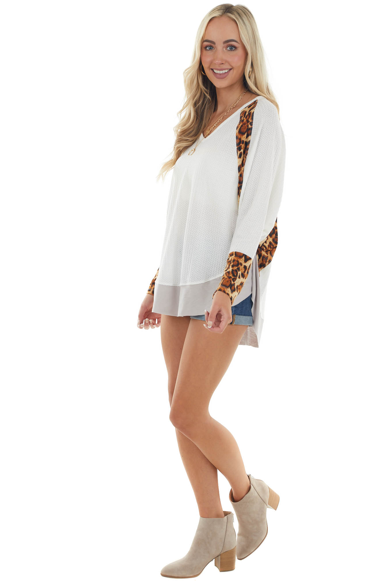 Ivory Long Sleeve Waffle Knit Top with Leopard Contrast