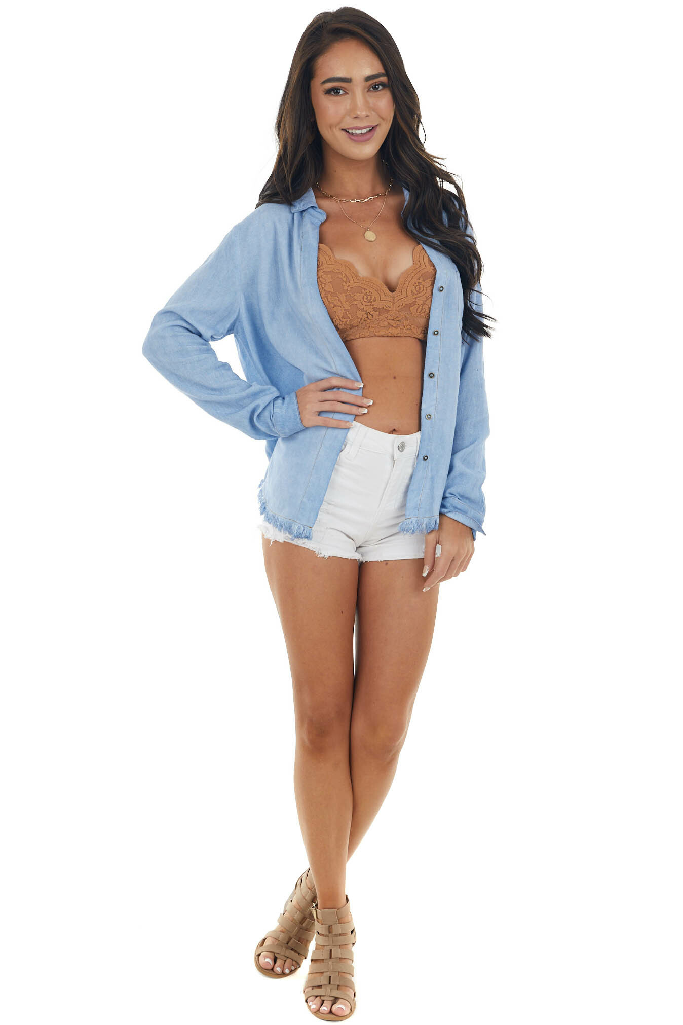 Light Chambray Button Down Top with Frayed Hem