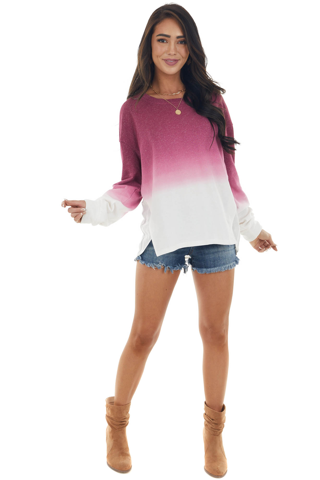 Mauve and Ivory Ombre French Terry Knit Top