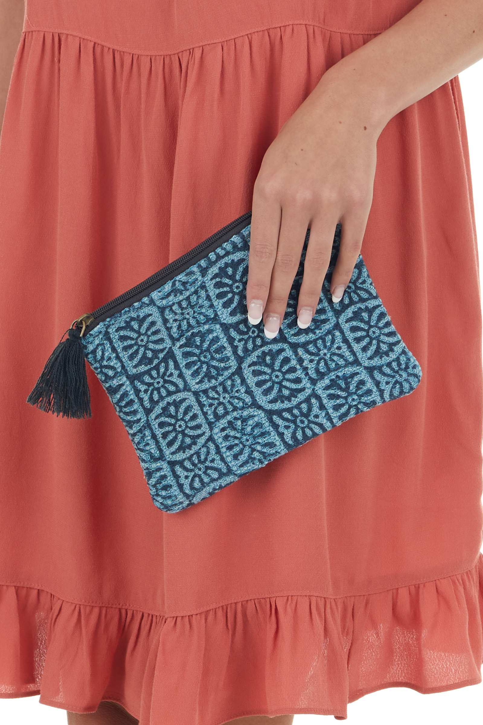 Ocean Blue Printed Woven Clutch with Tassel