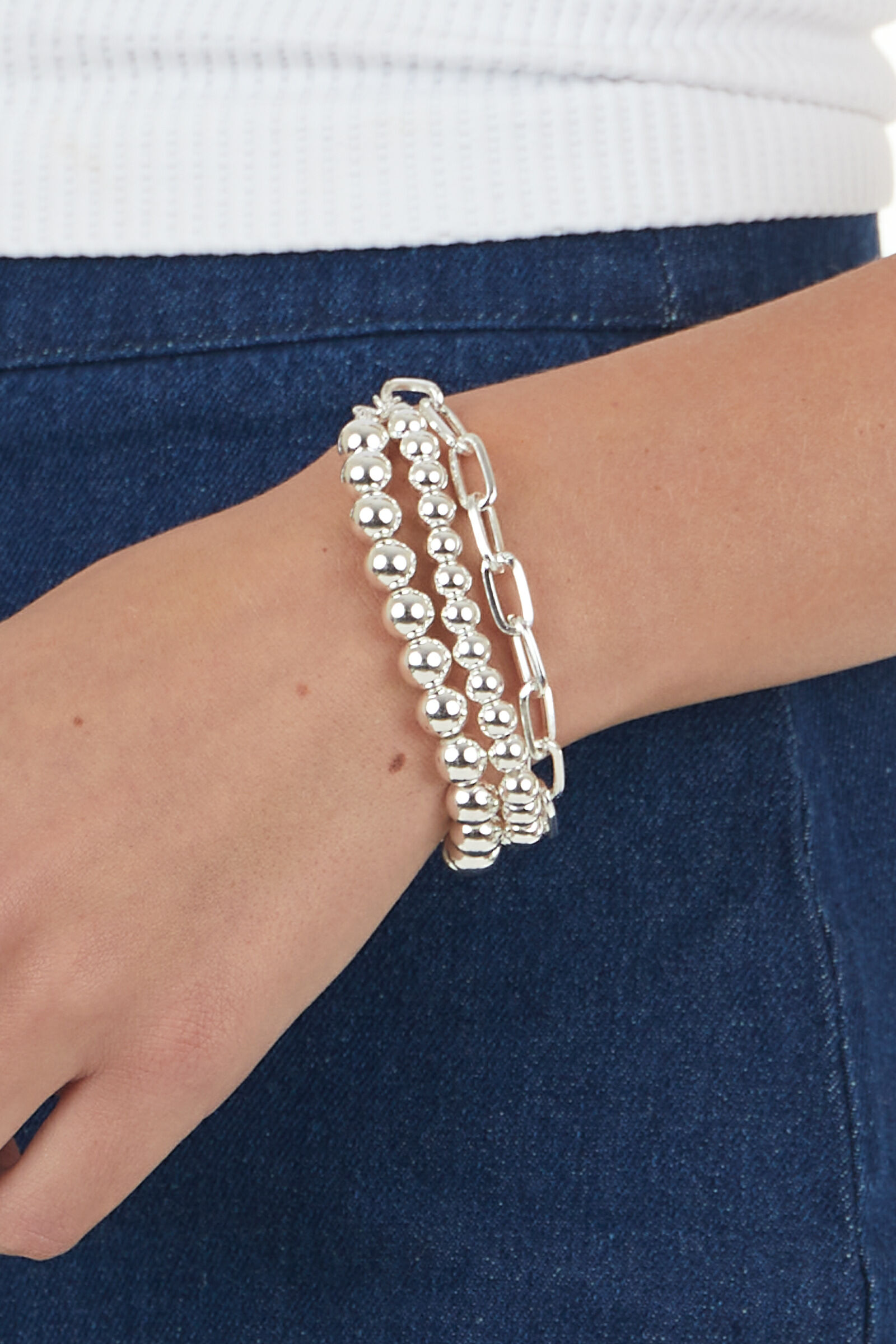 Silver Beaded Paperclip Chain 3 Layer Bracelet