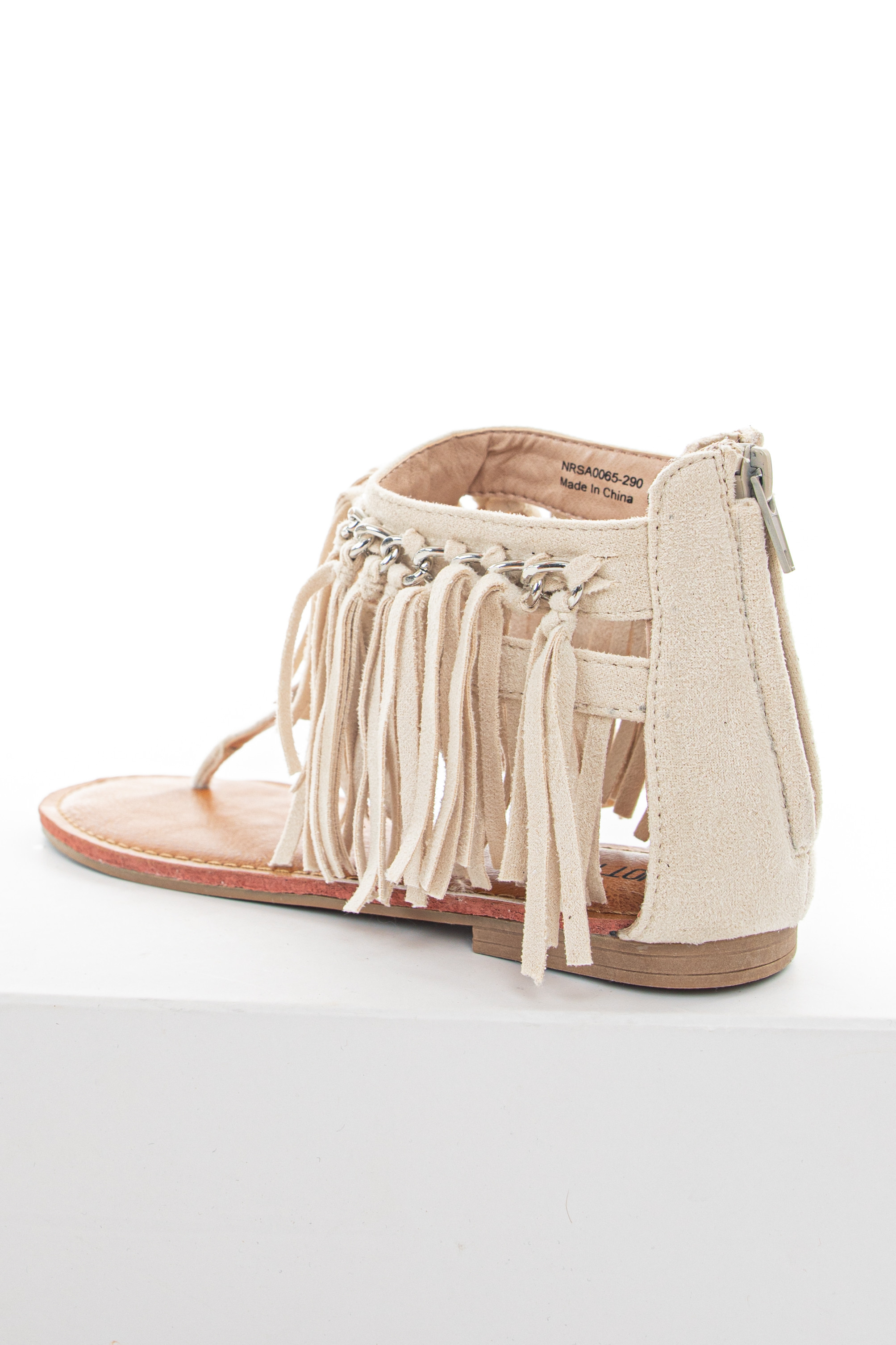 Cream Suede Thong Sandals with Fringed Chain